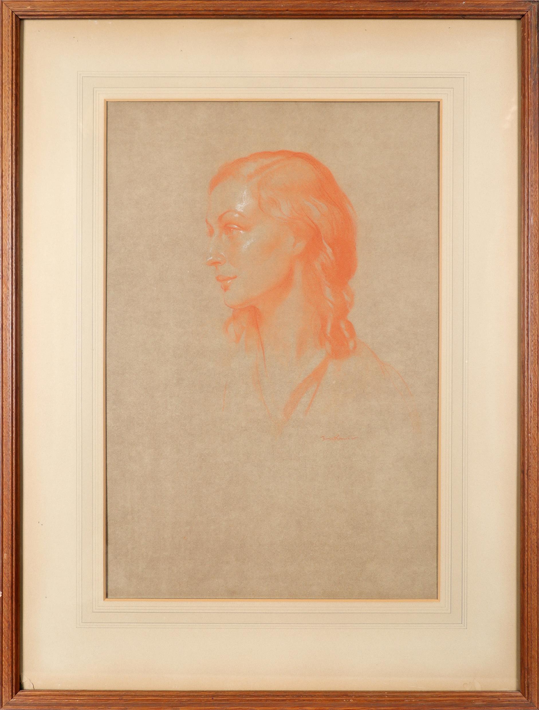 ‡Herbert James Gunn (1893-1964) Portrait of a woman Signed James Gunn (lower right) Red chalk - Image 2 of 3