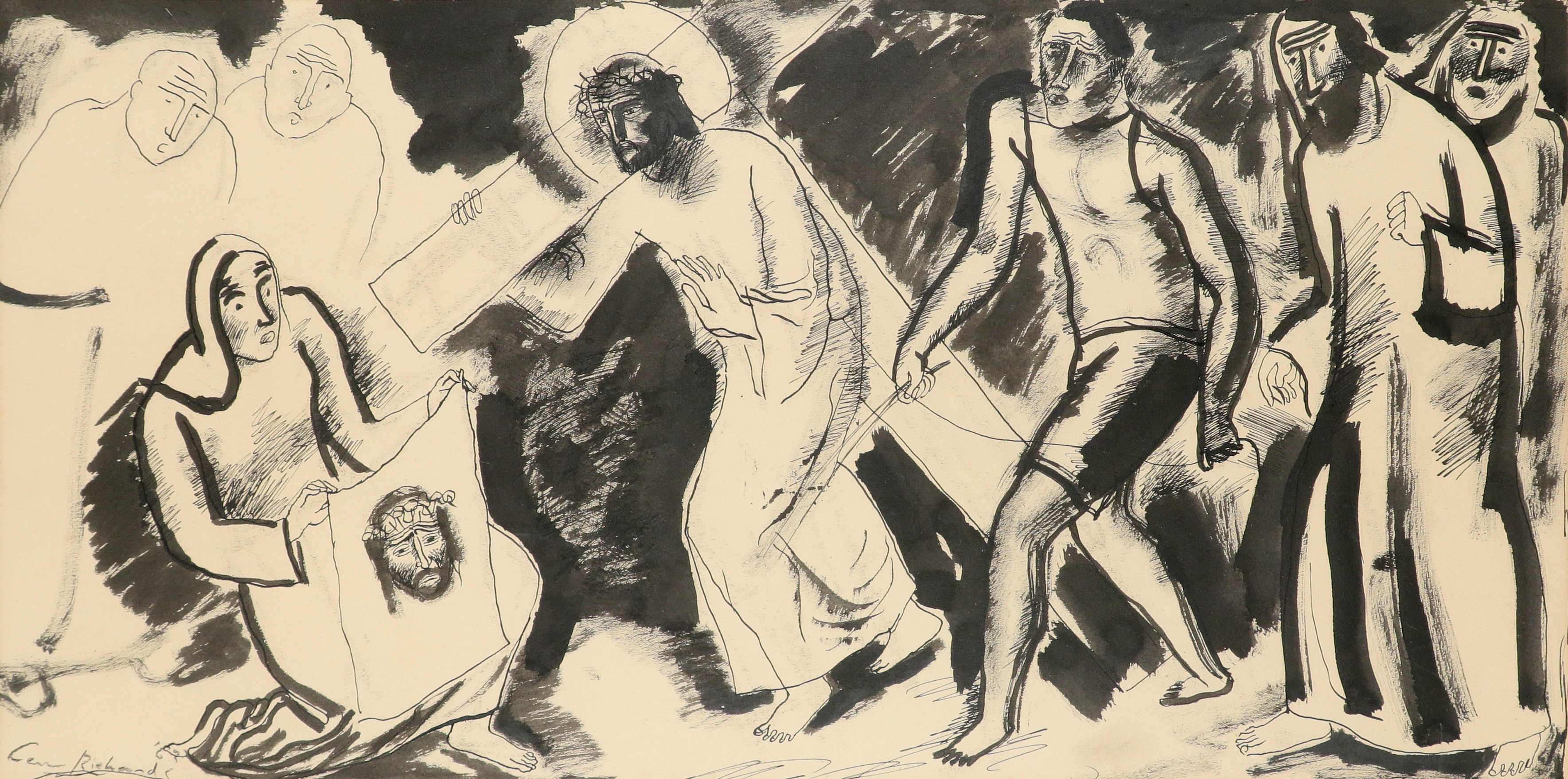 ‡Ceri Richards (Welsh 1903-1971) St. Veronica wipes the face of Jesus Signed Ceri Richards (lower