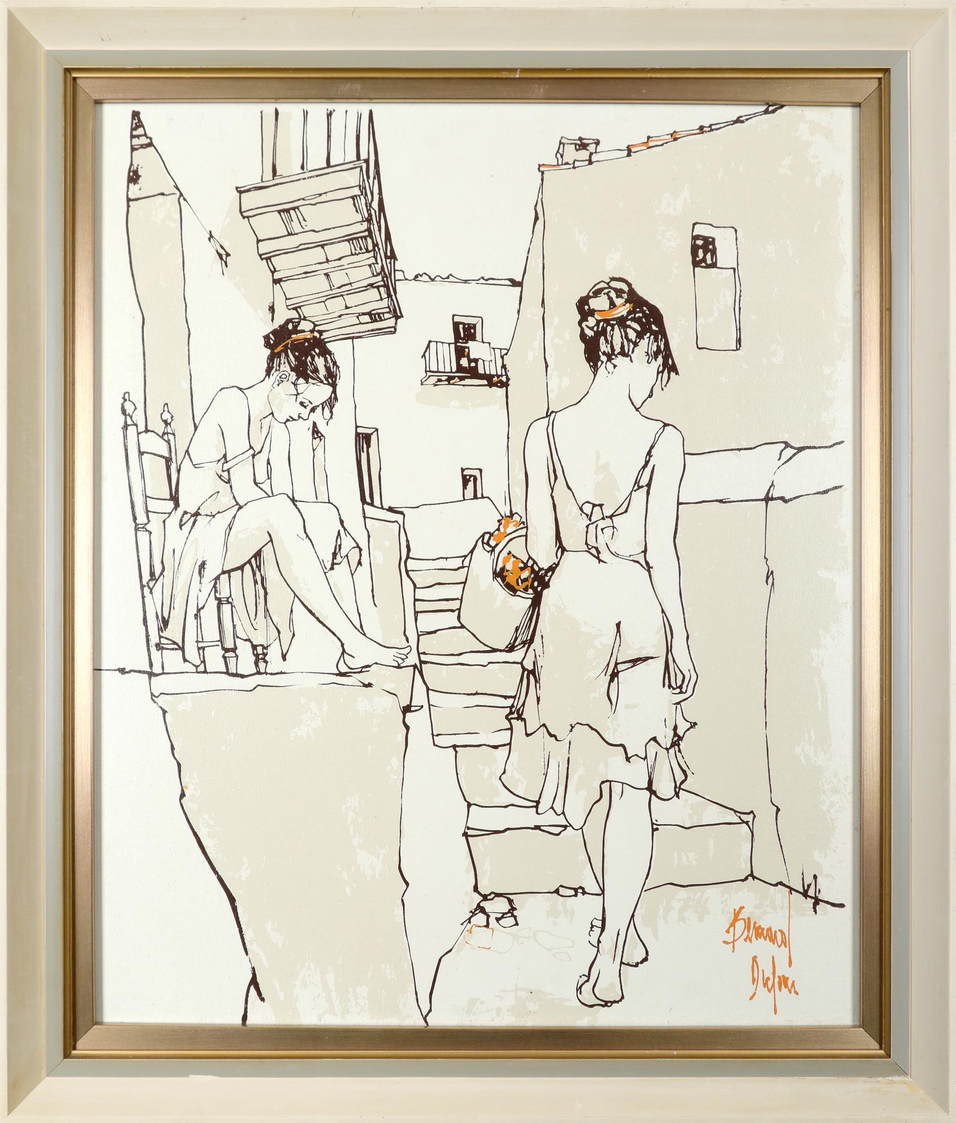 ‡Bernard Dufour (French 1922-2016) Young women boating; Young women in an alleyway Saint Tropez; A - Image 6 of 12