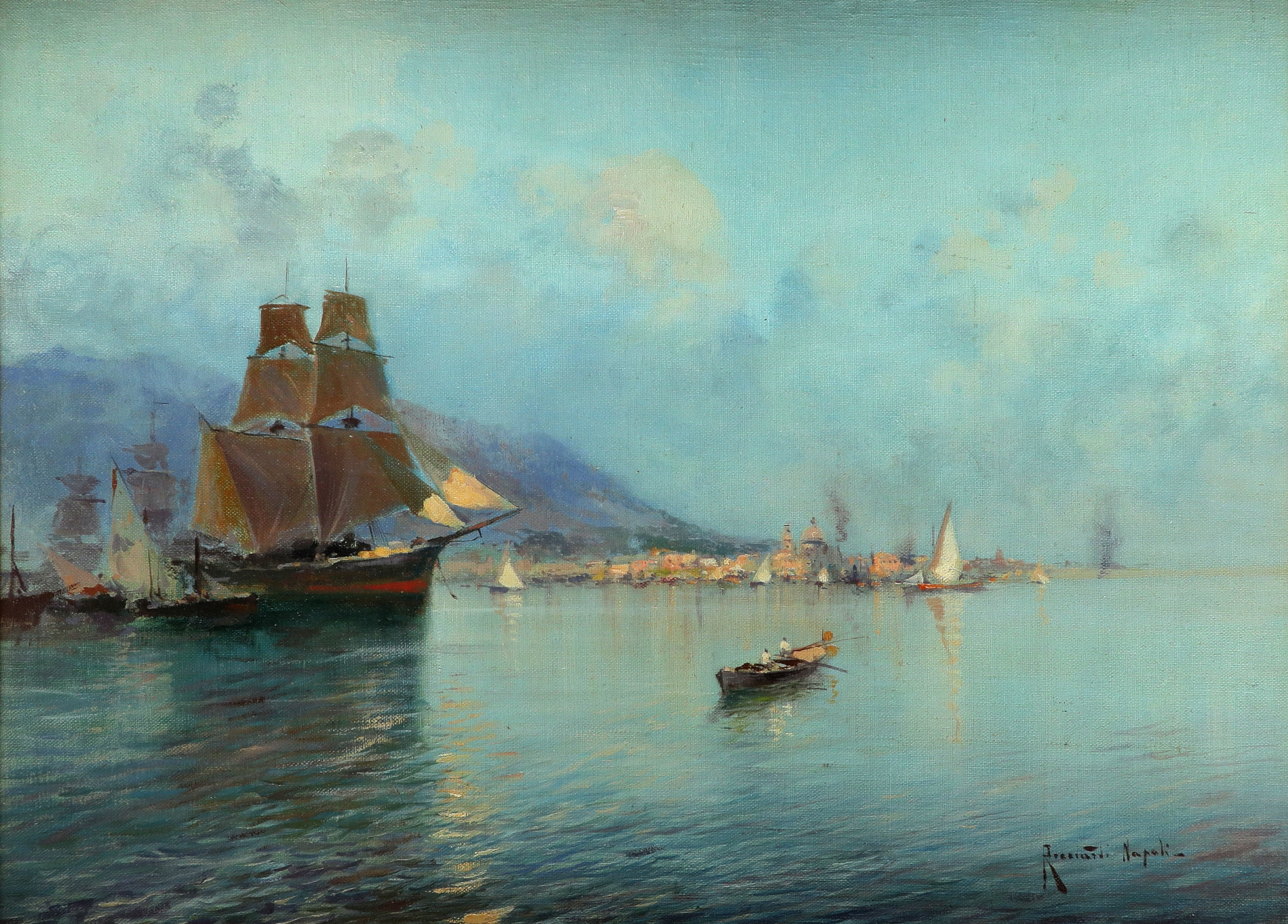 Oscar Ricciardi (Italian 1864-1935) View of the bay of Naples Signed and inscribed Ricciardi