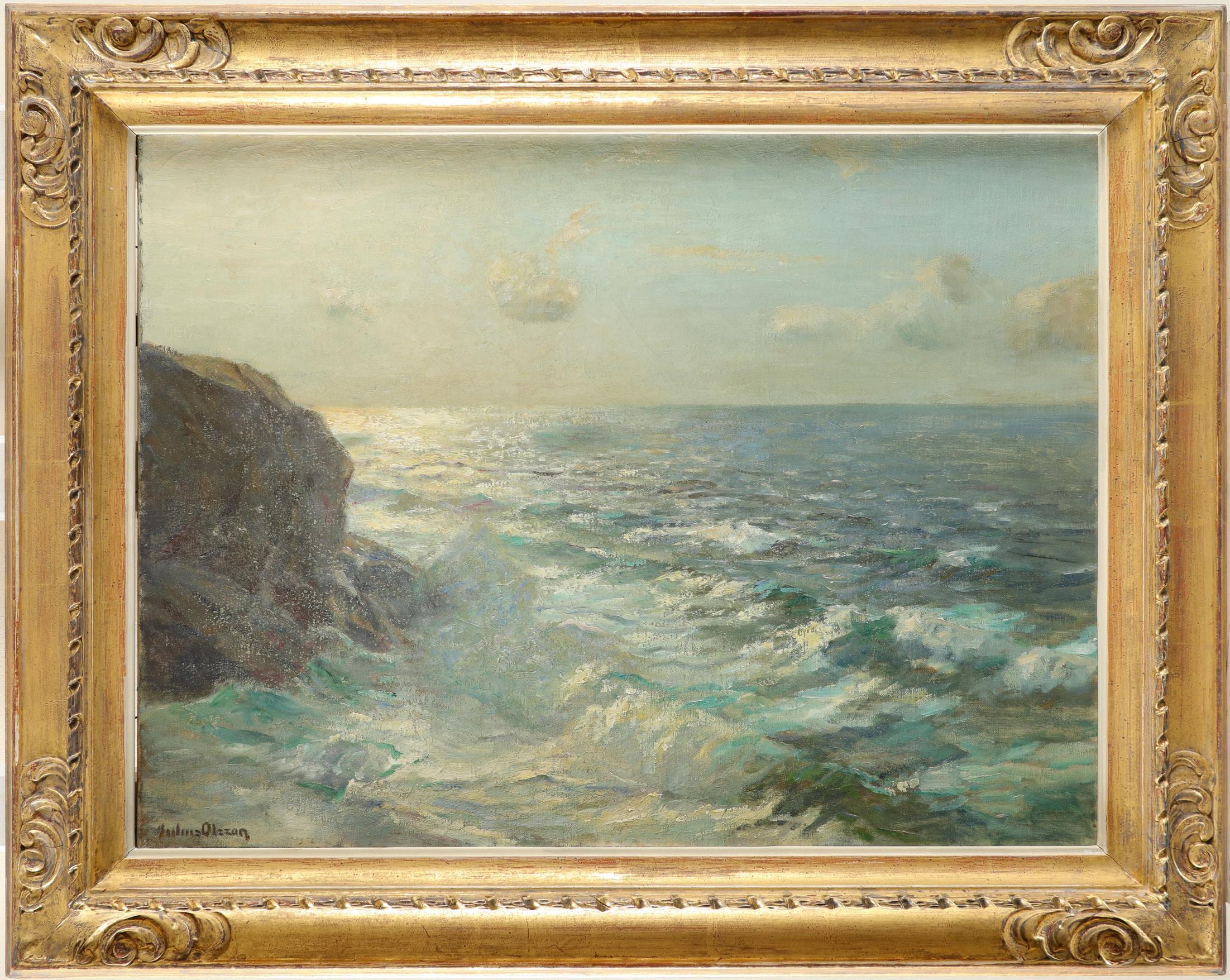 Julius Olsson RA (1864-1942) Dawn light over a calm sea Signed Julius Olsson (lower left) Oil on - Image 2 of 3