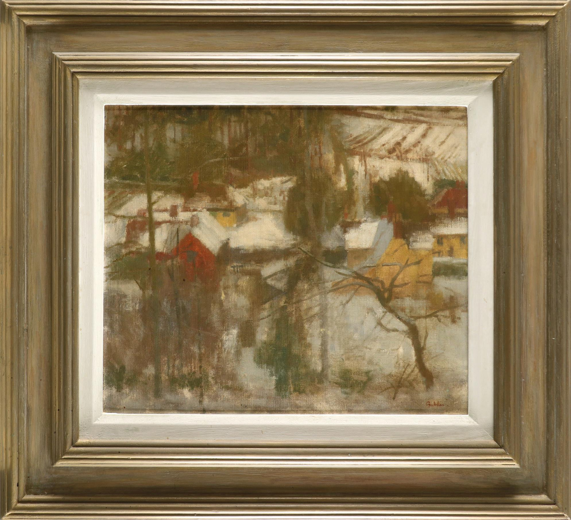 ‡Robert Buhler RA (1916-1989) Snow, Borden Wood Signed Buhler. (lower right) Oil on canvas laid down - Image 2 of 3