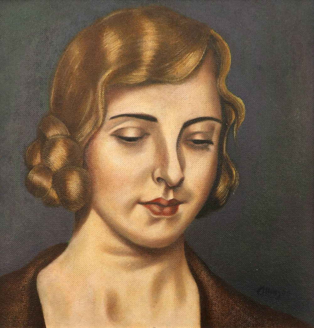 ‡Adrian Allinson ROI (1890-1959) Portrait of a young lady, possibly Laura Knight Signed allinson