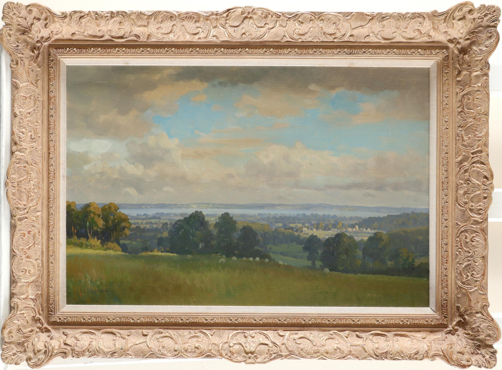 ‡Joseph Edward Hennah (Welsh 1897-1967) Landscape with the River Severn in the distance Signed J.E. - Image 2 of 3