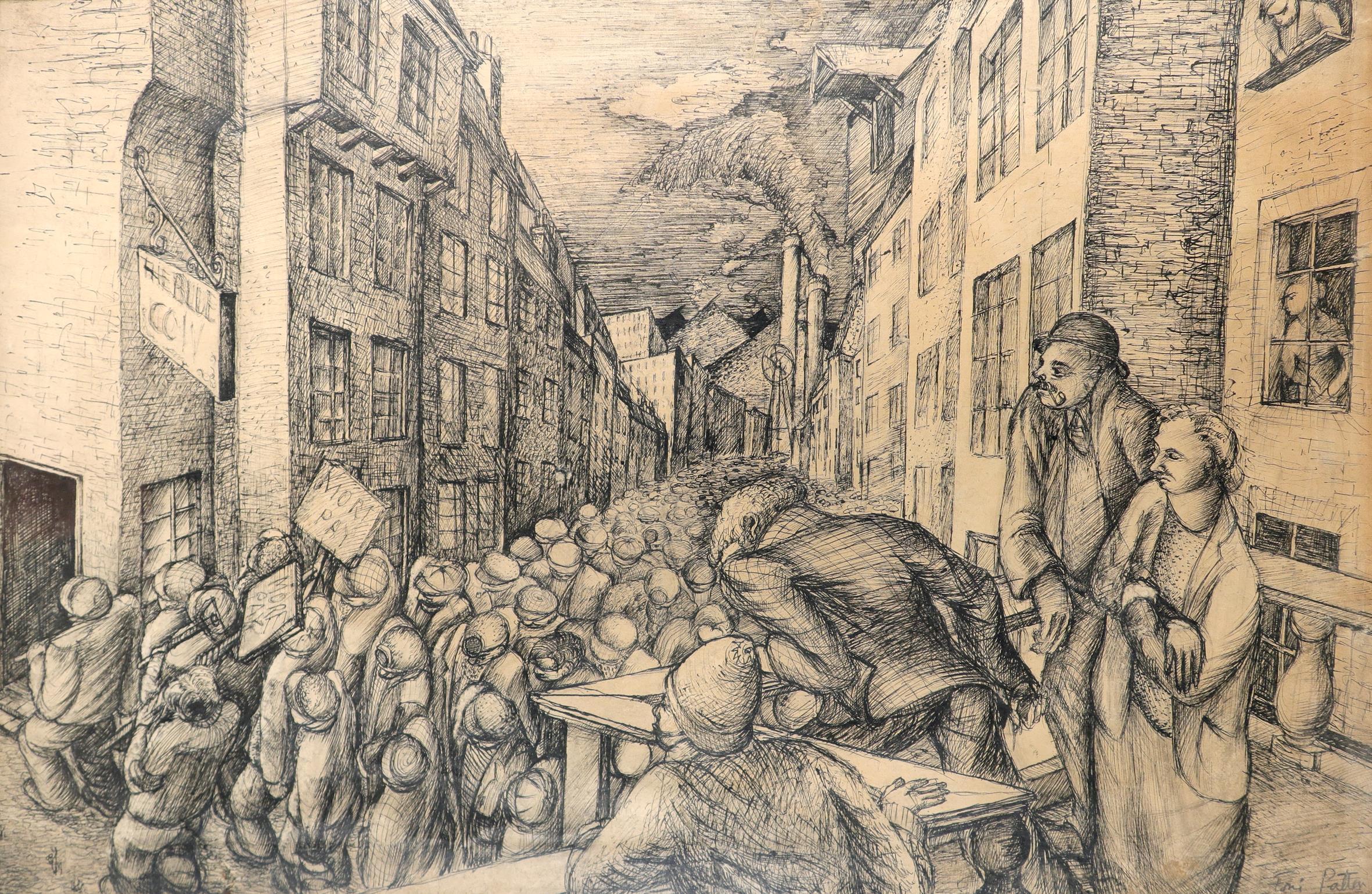 ‡Toni Patten (20th Century) Striking workers Signed Toni Patten (lower right) Pen 34.4 x 54.7cm