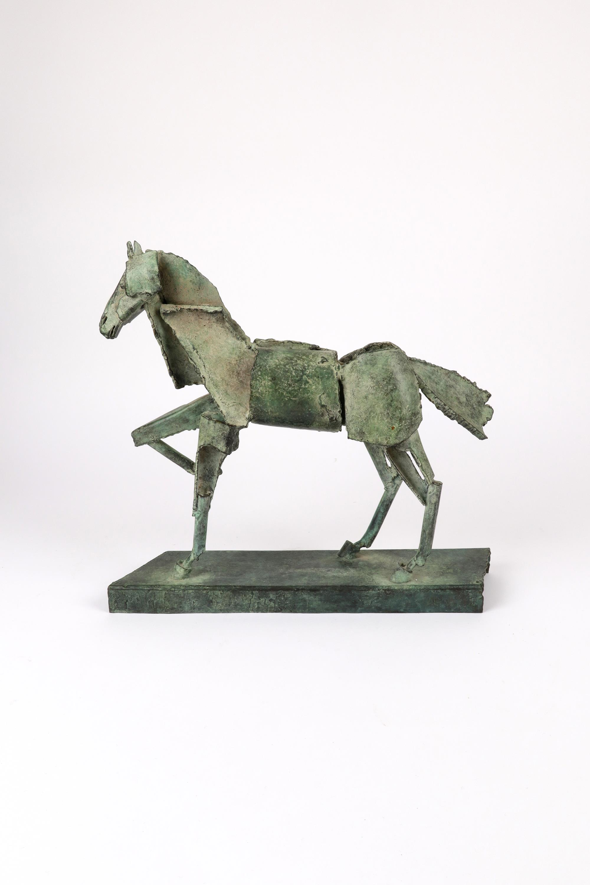 ‡Iain Nutting (b.1961) Proud horse Signed and numbered IAIN 1/8 (to base) Bronze with green