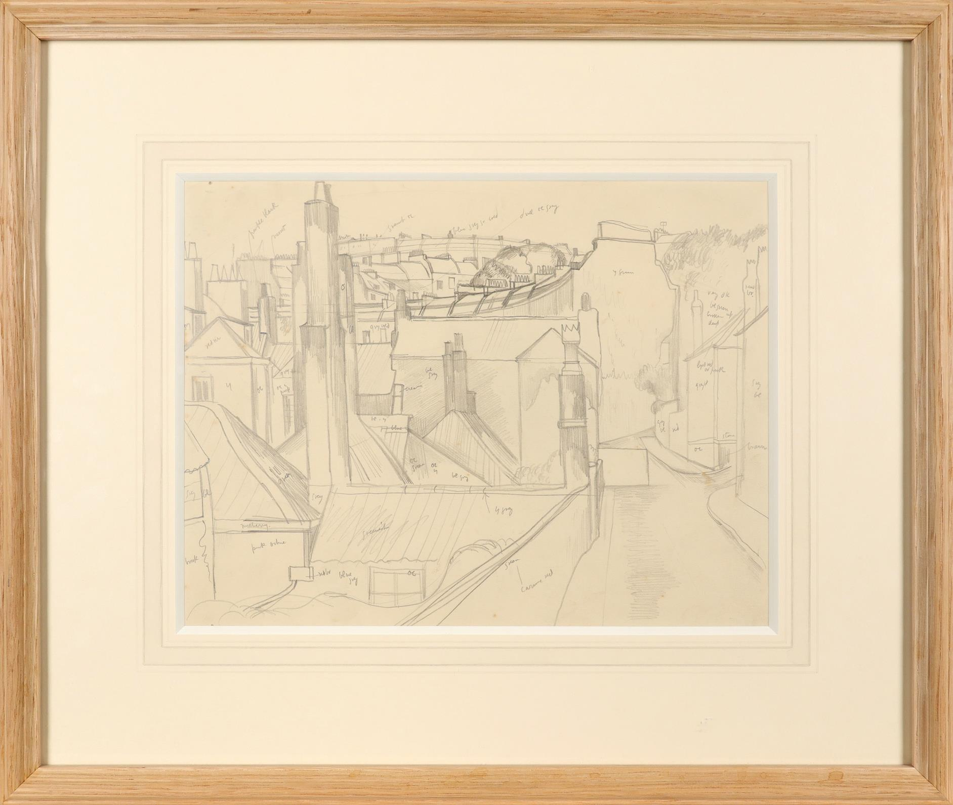 ‡John Nash CBE, RA (1893-1977) Townscape Inscribed throughout with colour notes Pencil 22.3 x 28.7cm - Image 2 of 3