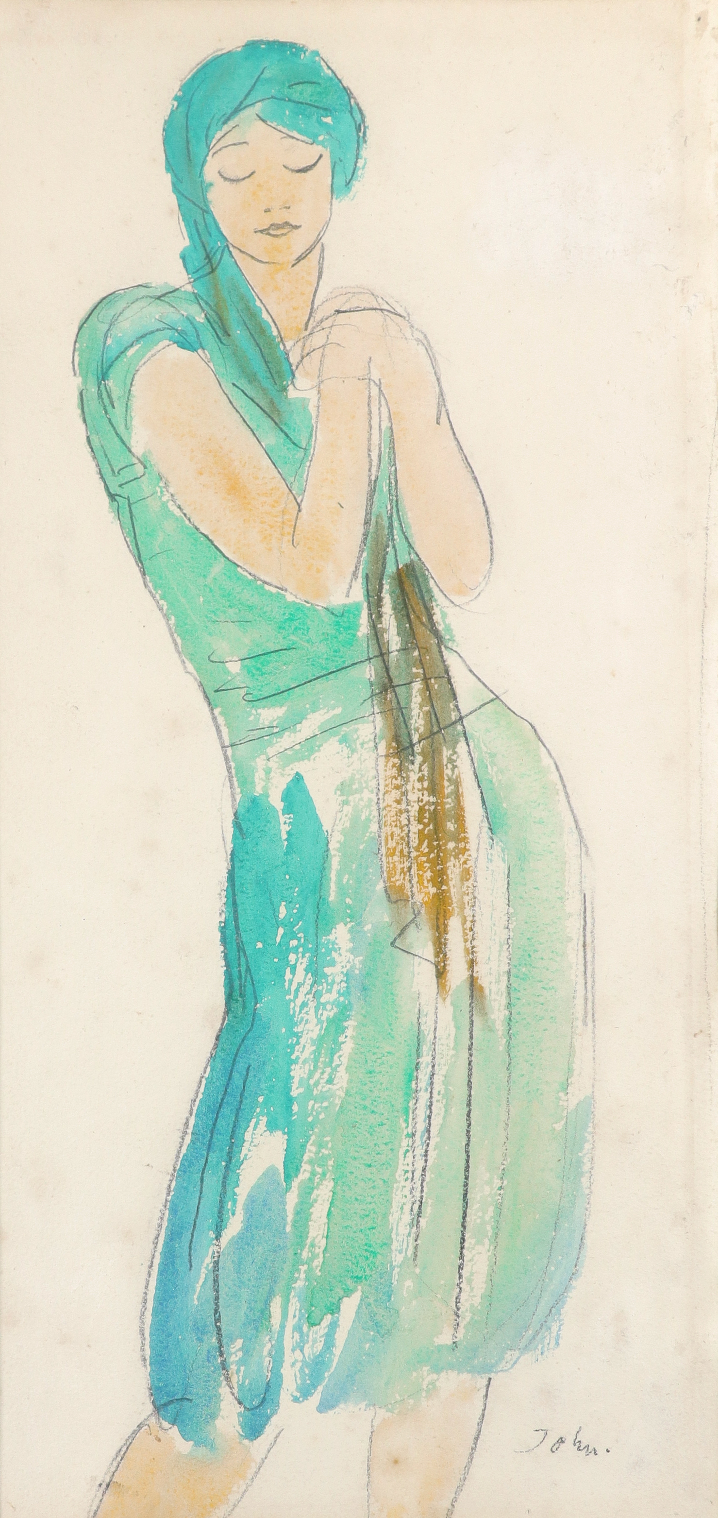 ‡Augustus John OM,RA (1878-1961) Study of a dancing girl Signed John (lower right) Watercolour and