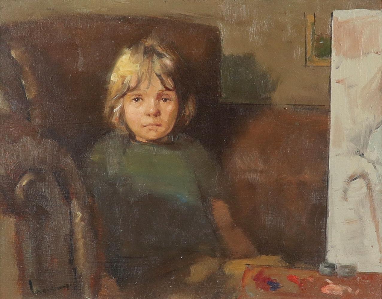‡Ken Moroney (b.1949) The artist's son Signed Moroney (lower left) Oil on board 12.8 x 16.6cm