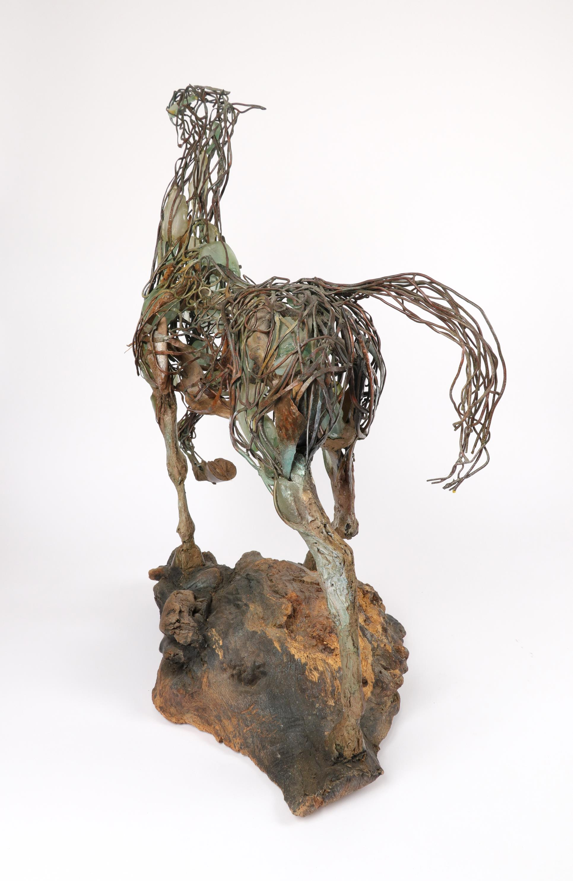 ‡Heather Jansch (b.1948) Neptune Signed Heather Jansch (to inside of back left leg) Copper wire, - Image 3 of 4