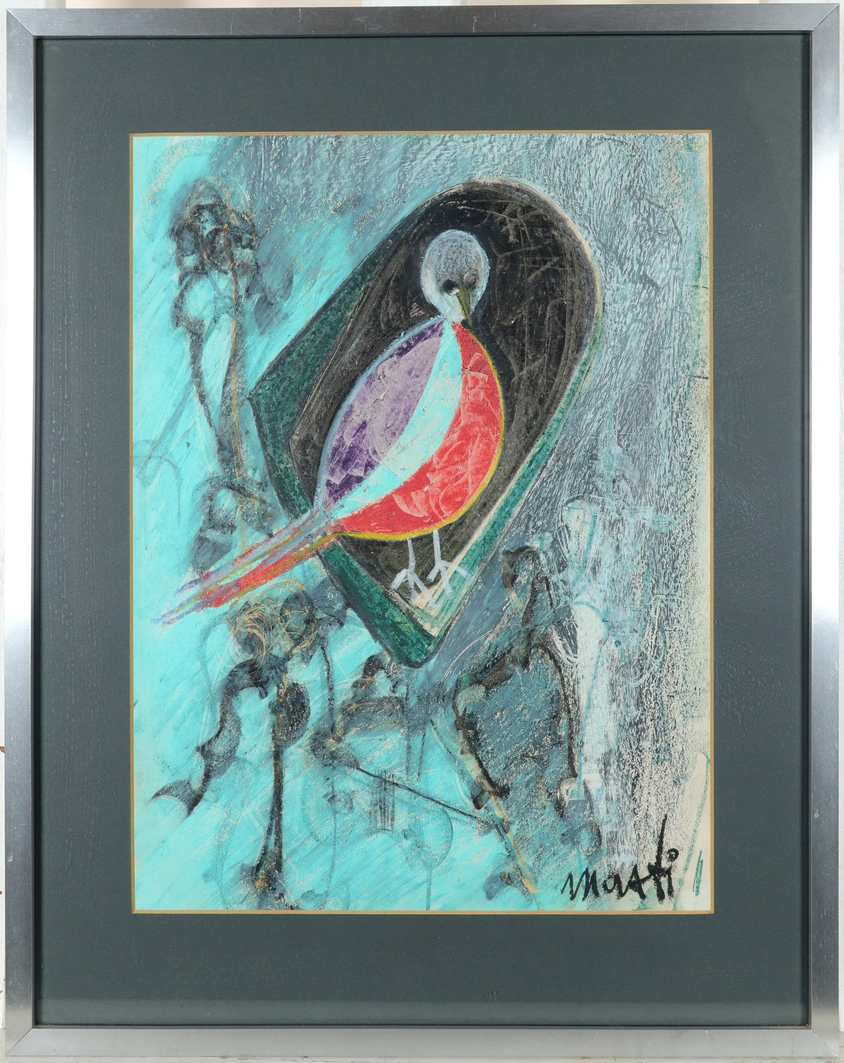 20th Century School Bird on a branch Signed M(?)oati (lower right) Pastel 41.7 x 31cm Together - Image 3 of 6