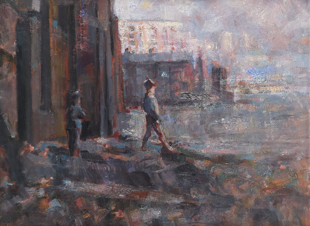 """‡Michael Randall (1947-2000) Mudlarks Signed with initials and inscribed MR 299 """"MUDLARKS"""" (to"""