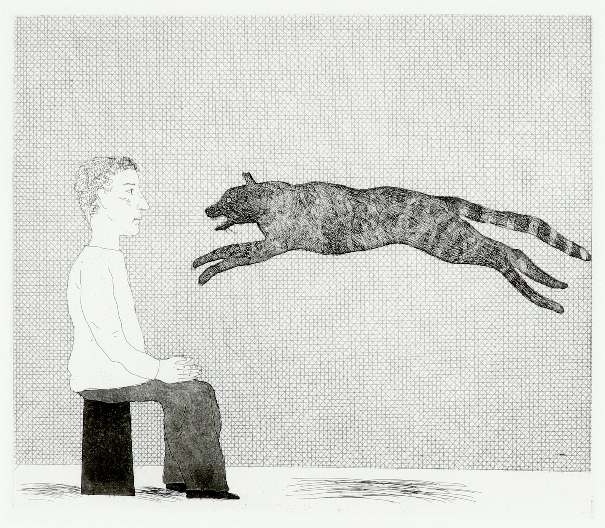 ‡David Hockney RA (b.1937) A Black Cat Leaping (S.A.C 94; M.C.A.T 91) Etching and aquatint, 1969,
