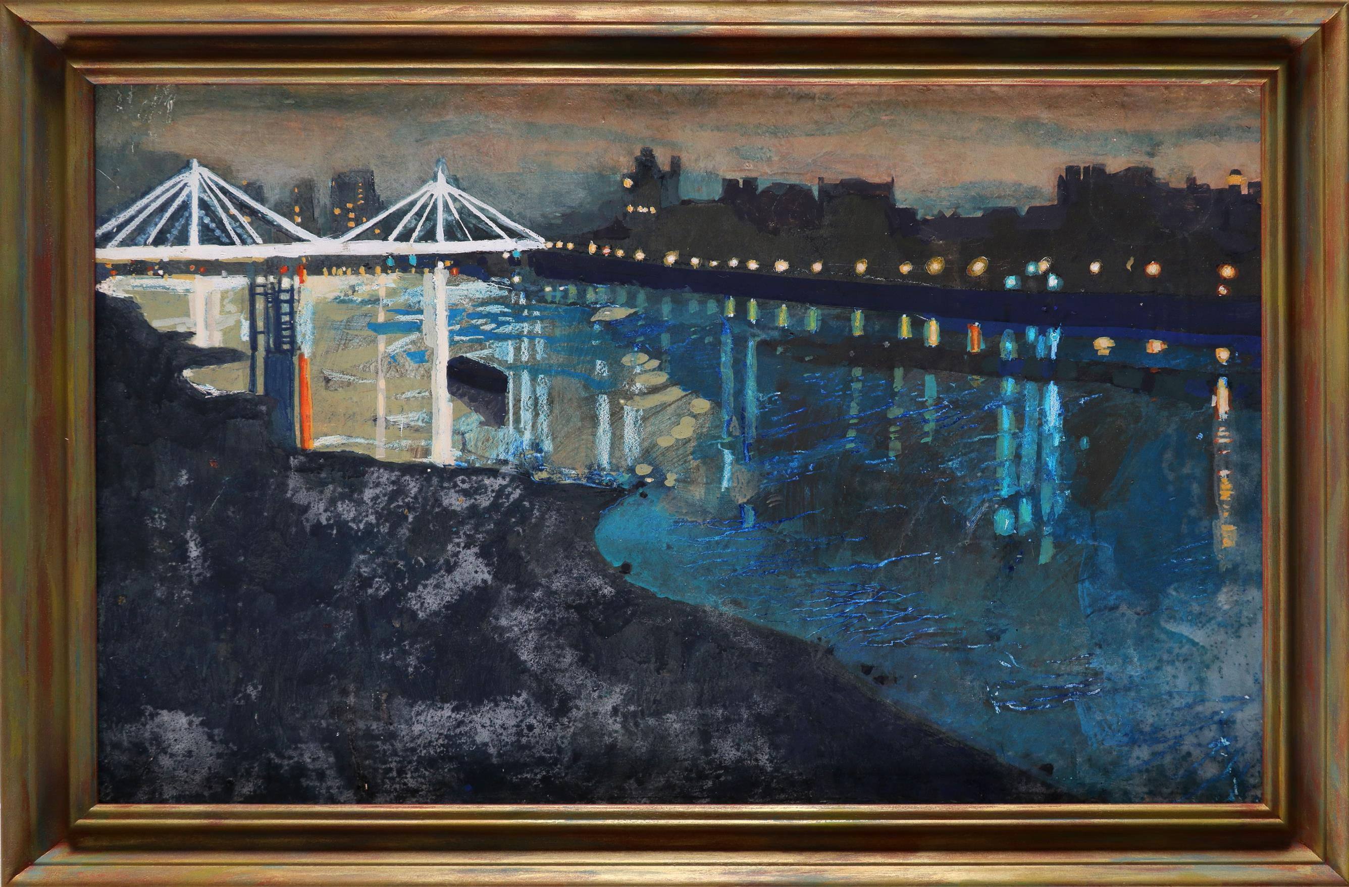 ‡Ruth Stage (b.1969) Chelsea night Tempera on board 45.8 x 73.6cm - Image 2 of 3
