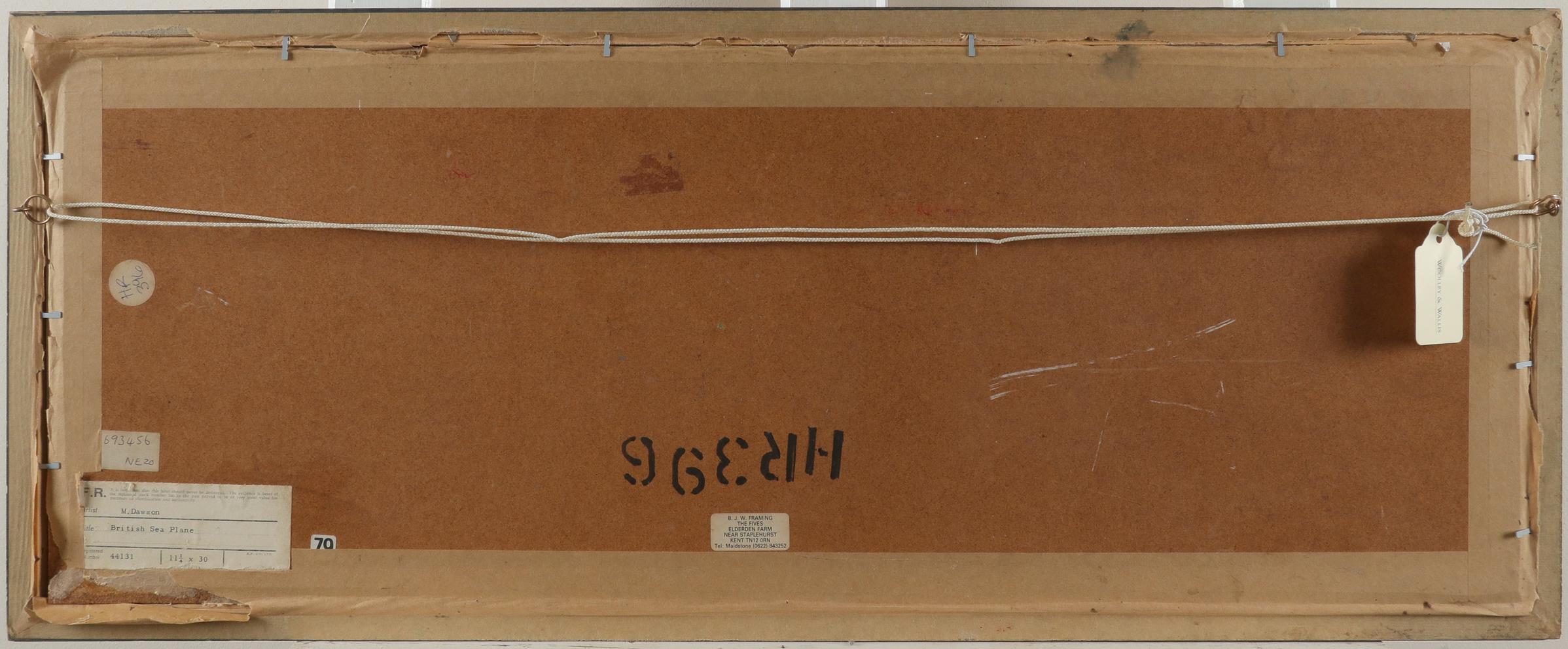 M. Dawson (British 20th Century) British Sea Plane Oil on canvasboard 28 x 75cm Provenance: Frost - Image 3 of 3