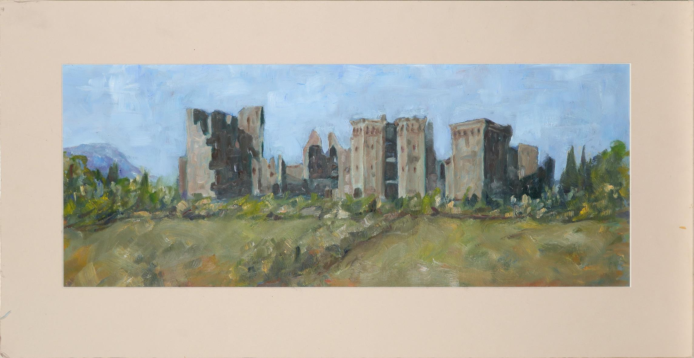 ‡Michael Clark (Contemporary) Raglan Castle, Monmouthshire Oil on card 22 x 57cm Unframed - Image 2 of 3