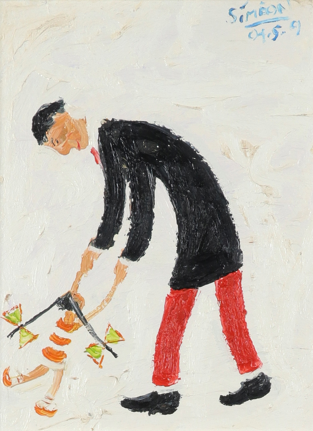 ‡Simeon Stafford (b.1956) Ruby and Dad Signed and dated Simeon/04.5.9 (upper right) and