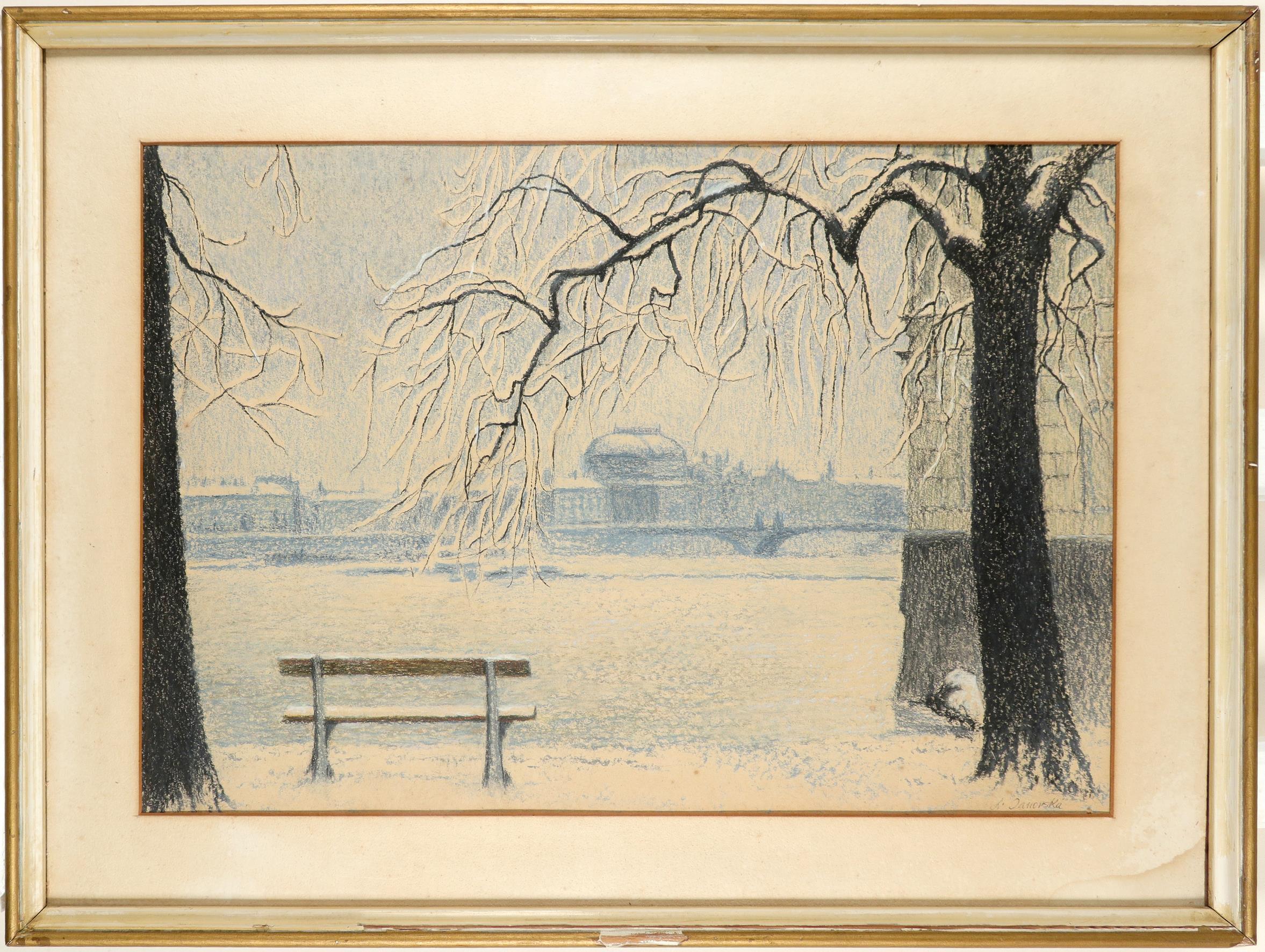 Ludmila Janovska (Yugoslavian b. 1907) View of the Vltava, Prague Signed L. Janovska (lower right) - Image 2 of 3