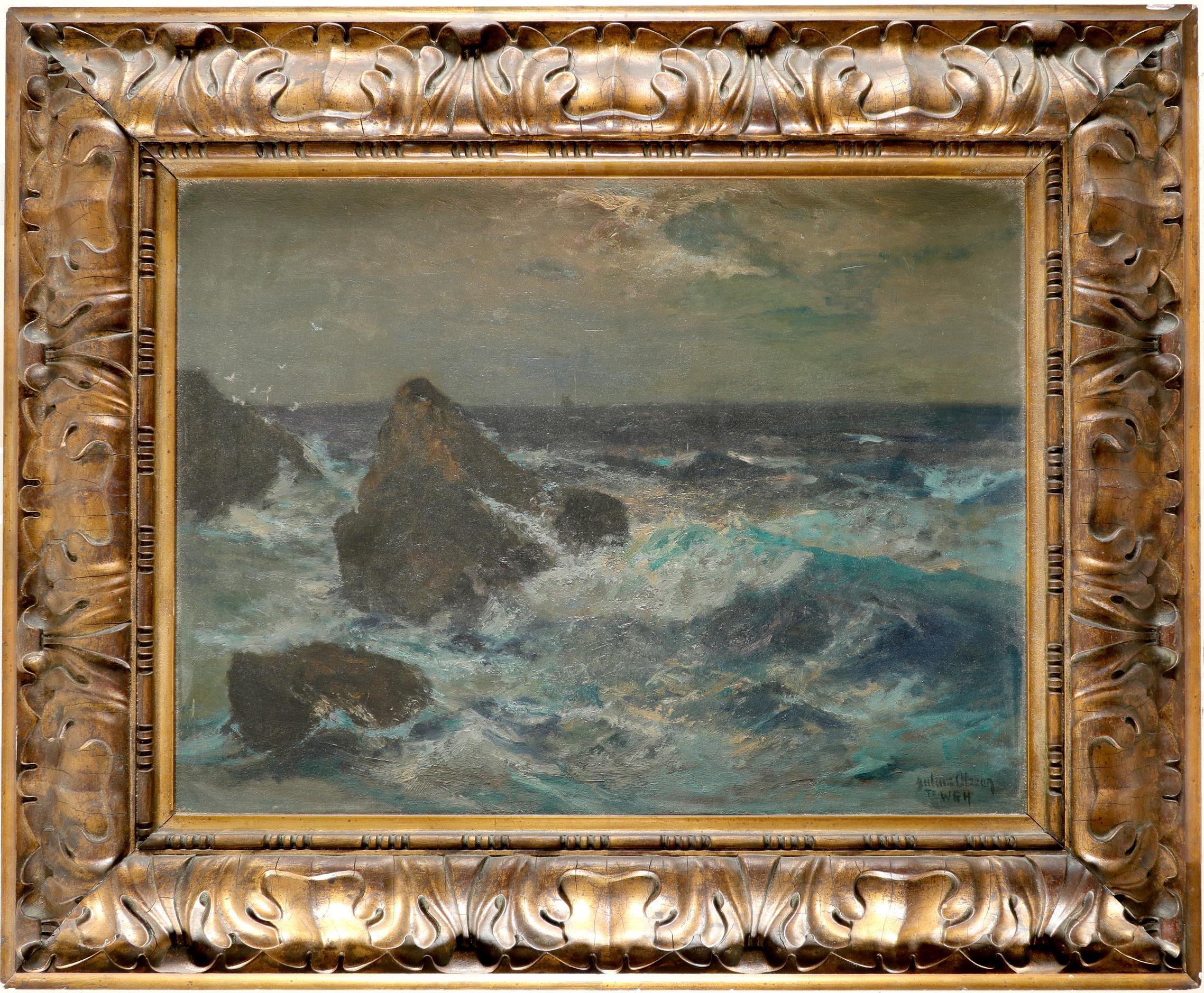 Julius Olsson RA (1864-1942) Waves crashing against the rocks Signed and inscribed Julius Olsson/ - Image 2 of 3