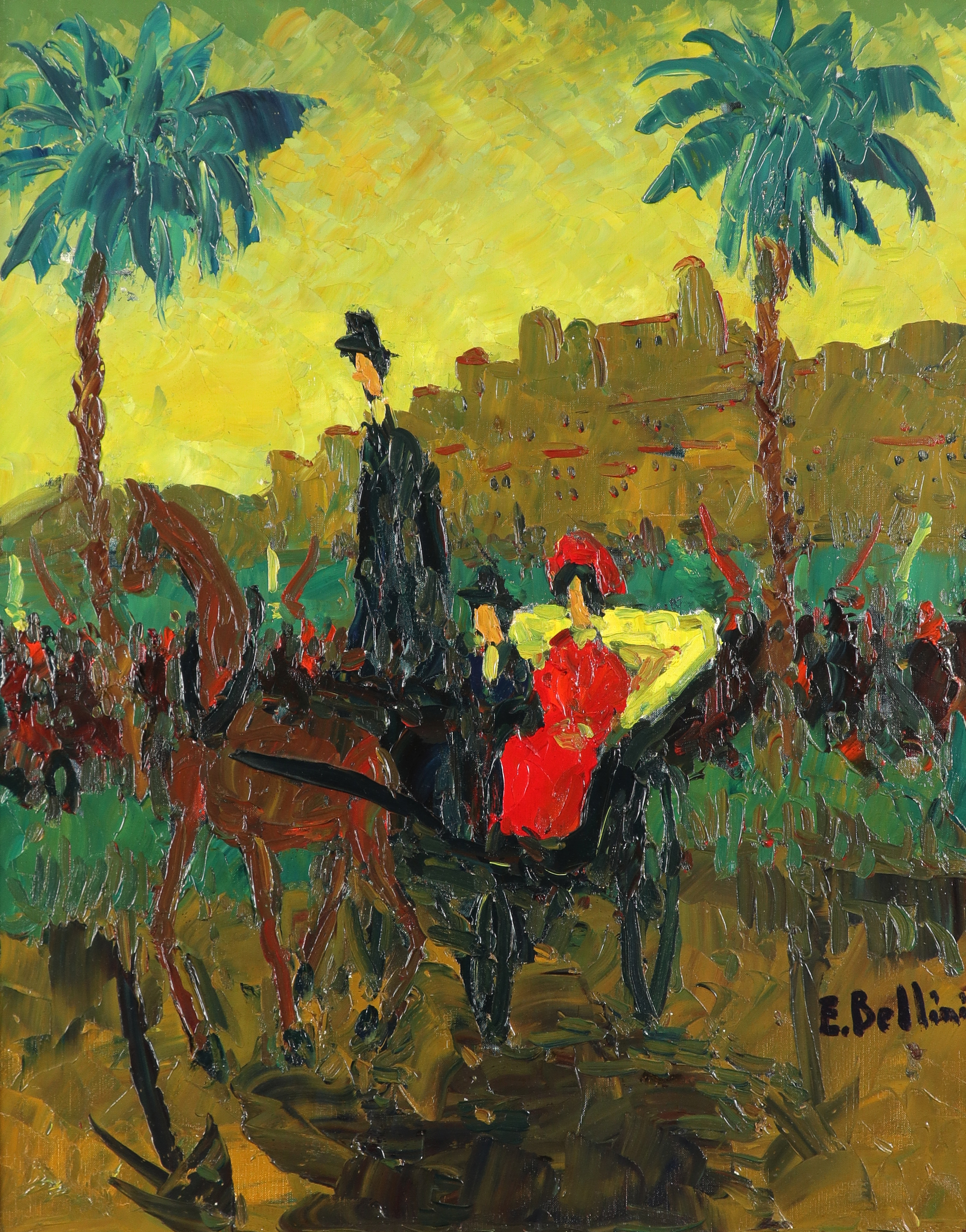 ‡Emmanuel Bellini (French 1904-1989) Calèche à Cannes Signed E.Bellini (lower right), and signed and