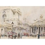 William Walcot RBA, RE (1874-1943) The Bank of England and the Royal Exchange Signed W.Walcot (lower