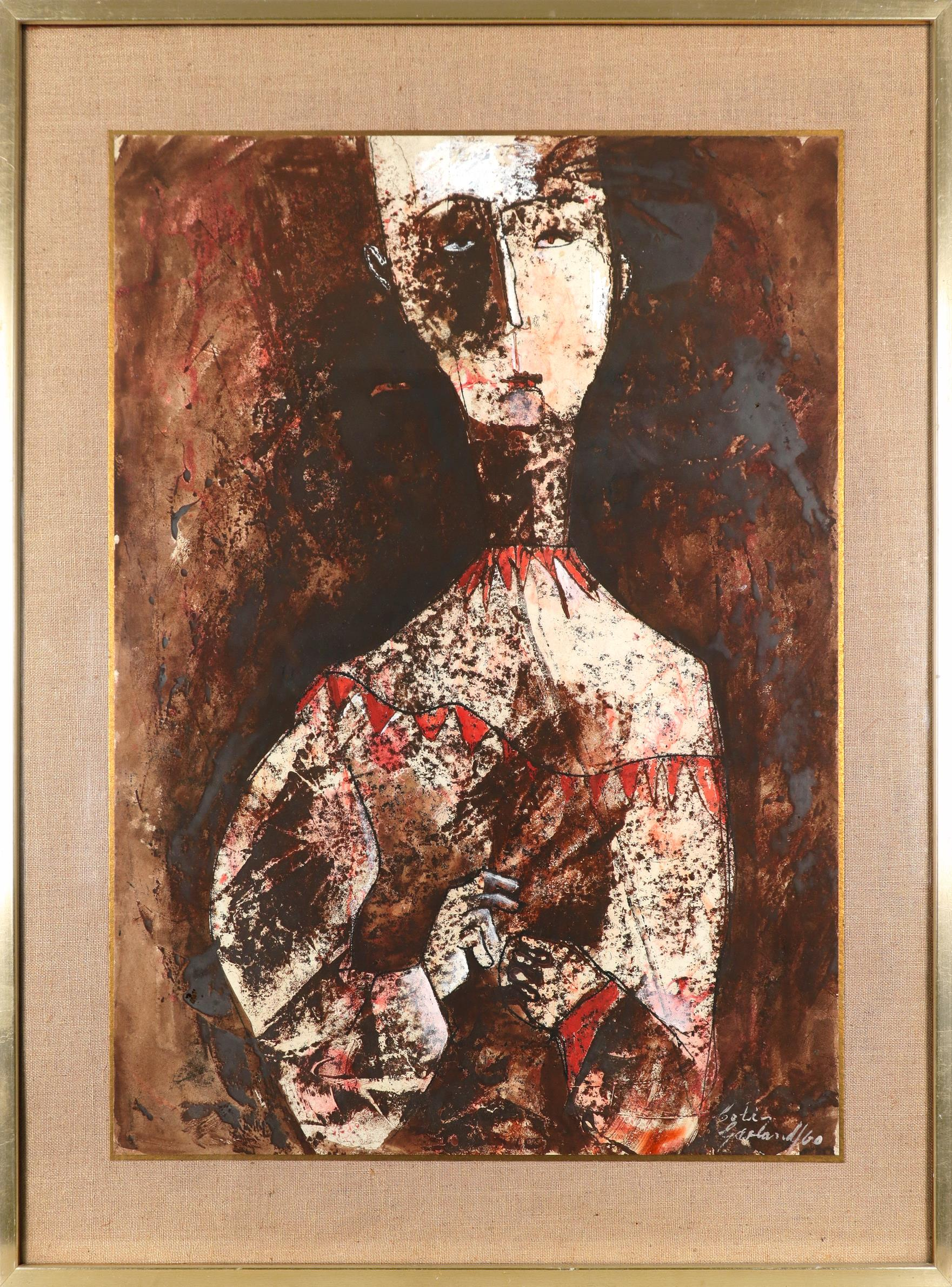 Colin Garland (Australian b.1935) Figure with a red collar Signed and dated Colin/Garland/60 ( - Image 2 of 3
