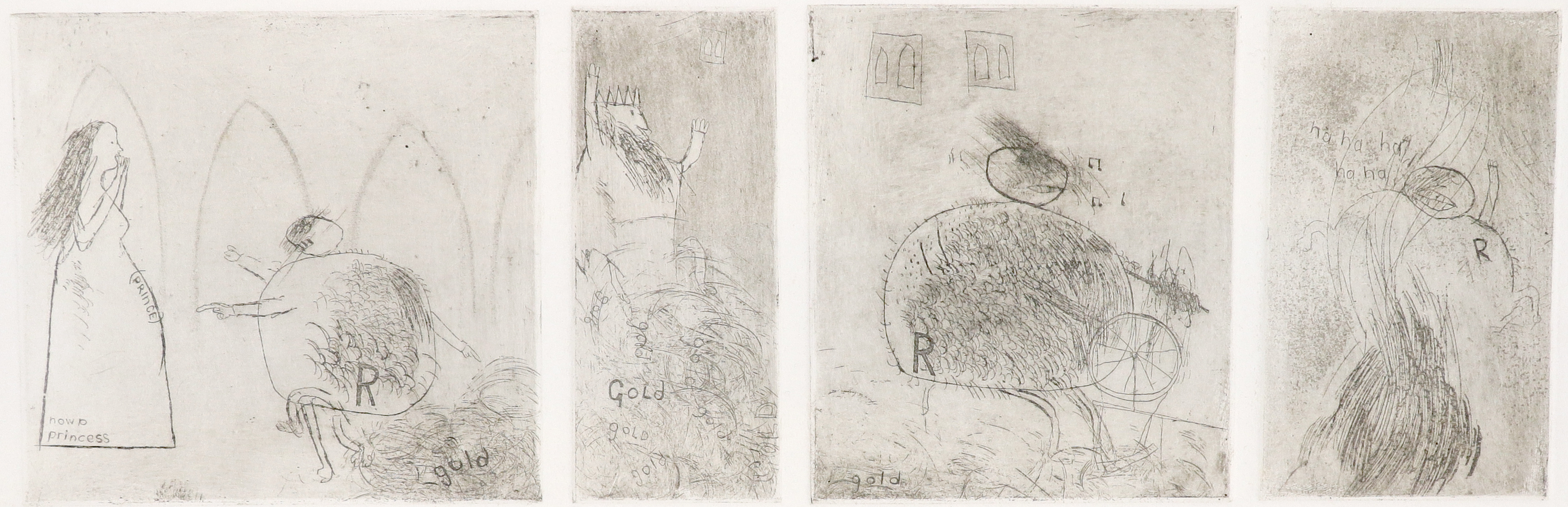 ‡David Hockney, OM, CH, RA (b.1937) Study for Rumpelstiltskin Four etchings on one sheet, trial