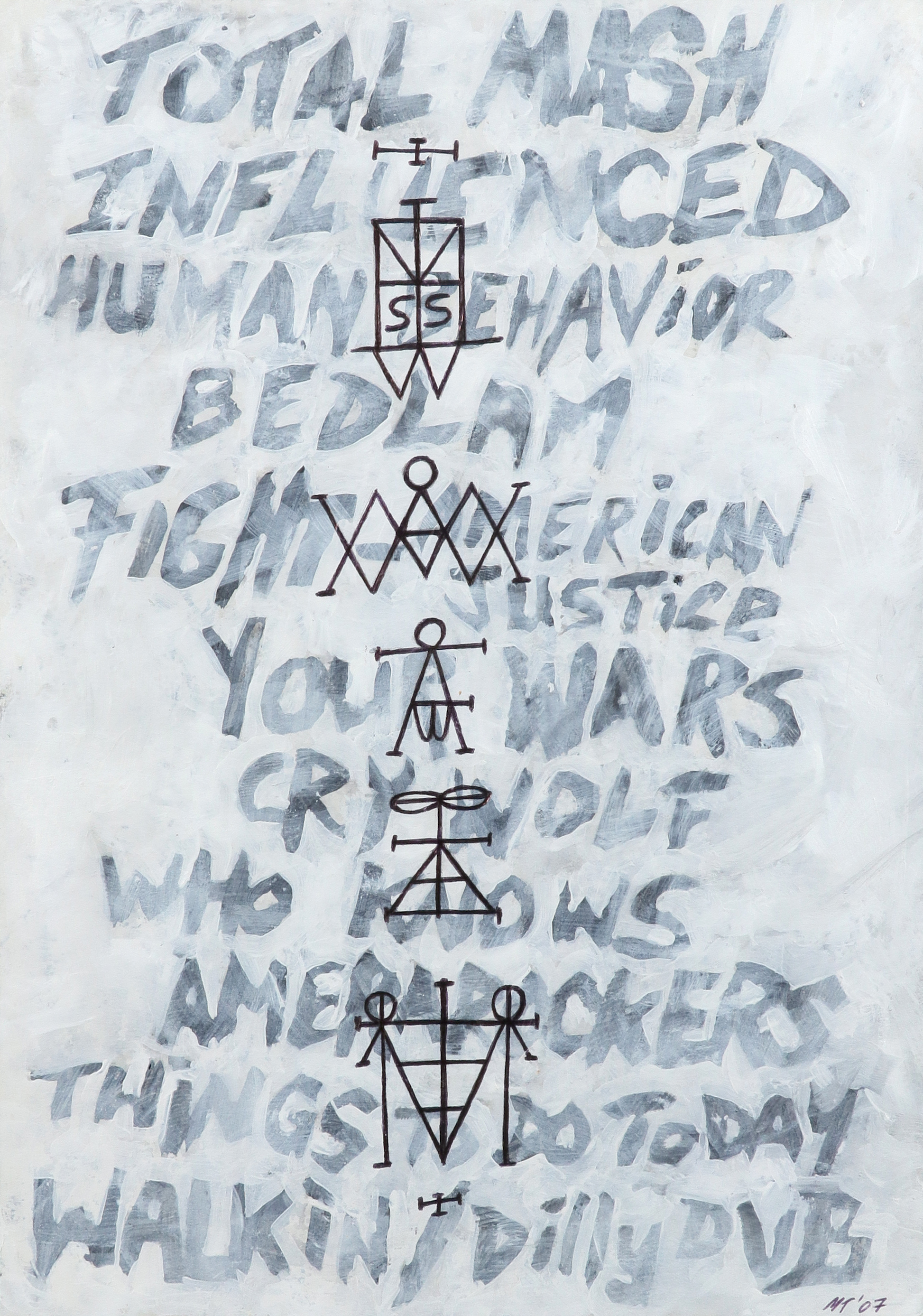 ‡Mark Titchner (b.1973) Scream Set List and Sigils Signed with initials and dated MT'07 (lower