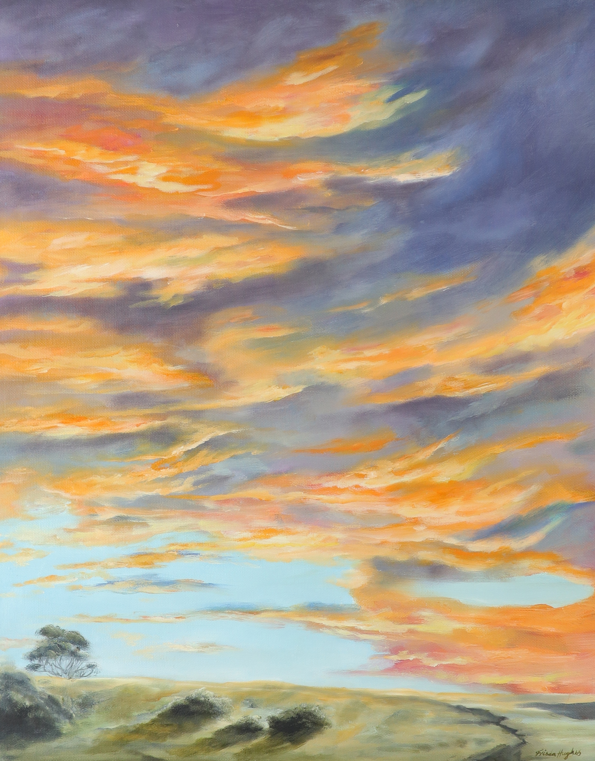 ‡Frieda Hughes (b.1960) Sunset No. 1 Signed Frieda Hughes (lower right), and signed and inscribed