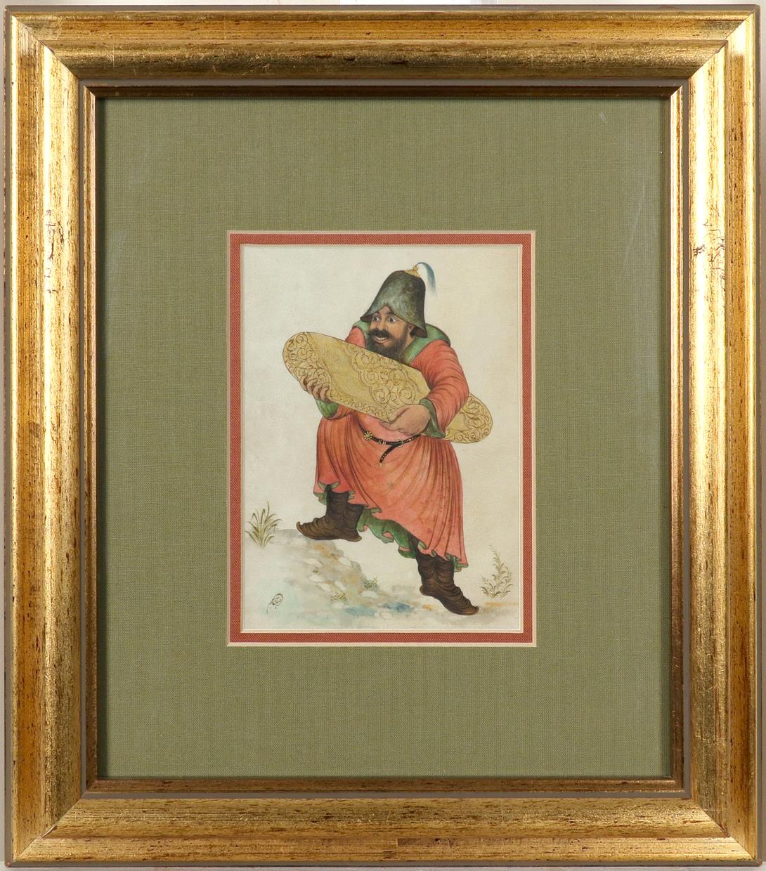 Yakup Abbasi (Iranian b.1948) A man carrying a carpet; A man with a staff A pair, both signed in - Image 3 of 6