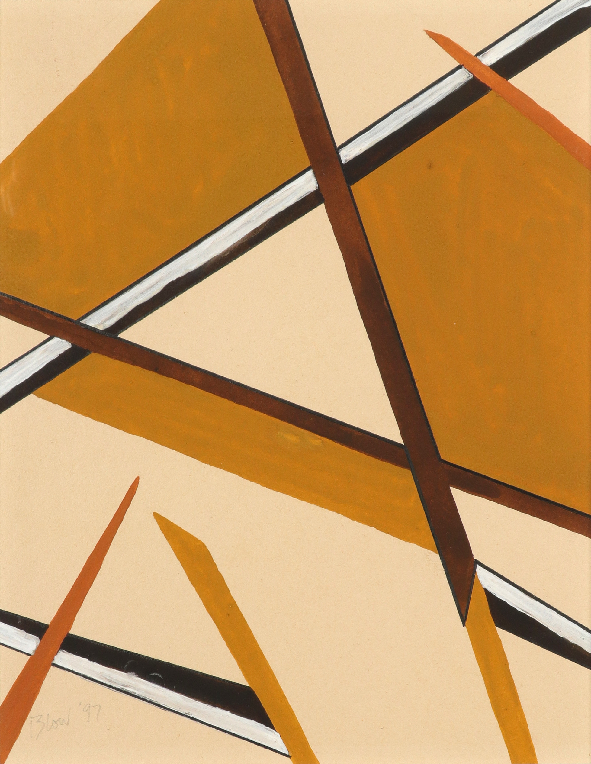 ‡Sandra Blow RA (1925-2006) Abstract in browns Signed and dated Blow '97 (lower left) Gouache 30.9 x