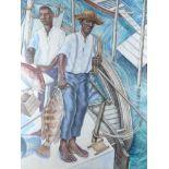 Graham Foster (Bermudan b.1970) Fishermen and Hamlet: Study for the Hall of History Mural, Bermuda