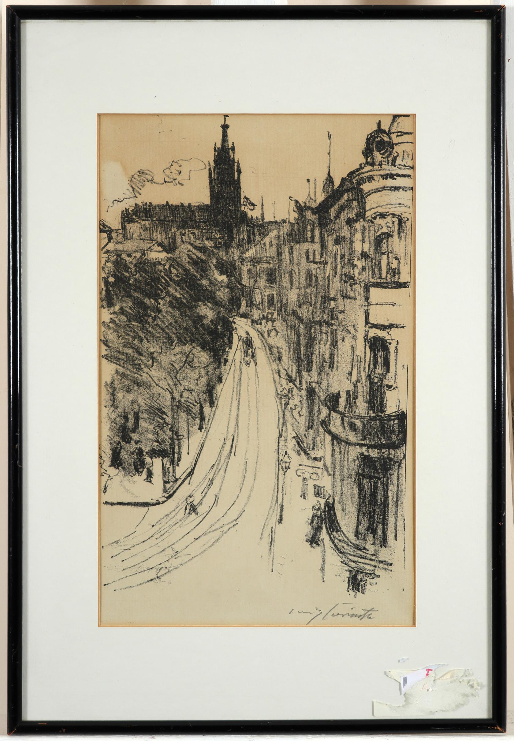 Lovis Corinth (German 1858-1925) Strasse in Königsberg Signed L***s Corinth (in pencil, lower right) - Image 2 of 3