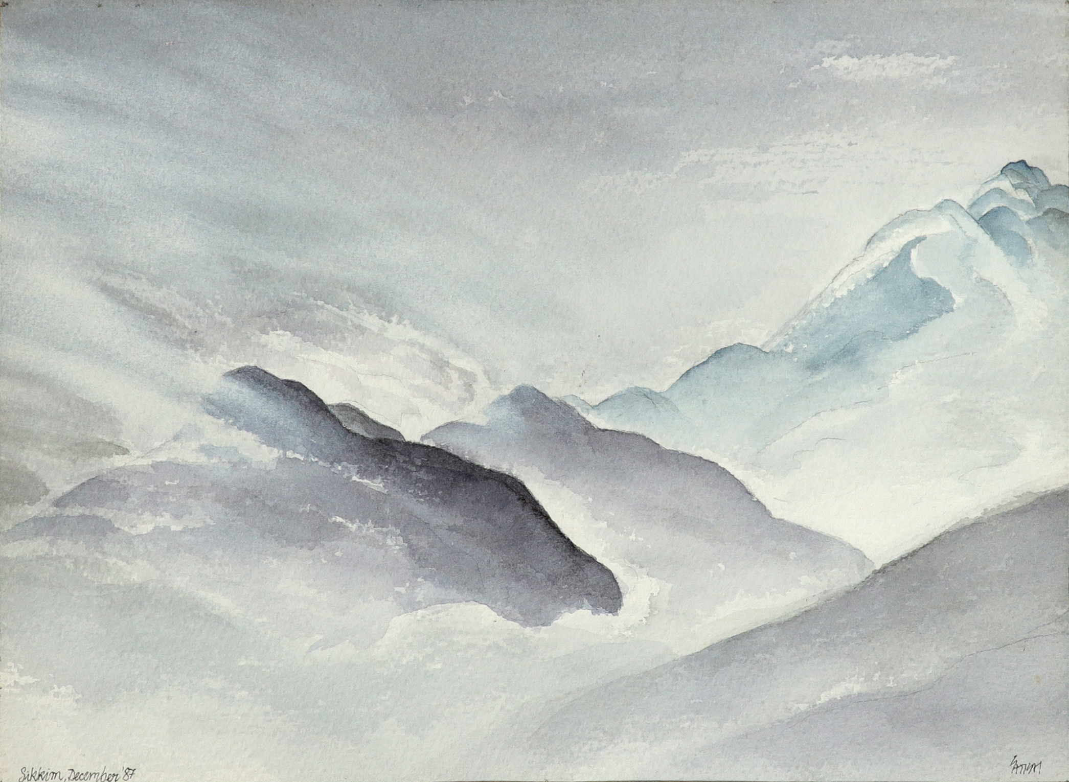 Satish Gupta (Indian b.1947) Mountain landscape in Sikkim Signed Satish (lower right) and