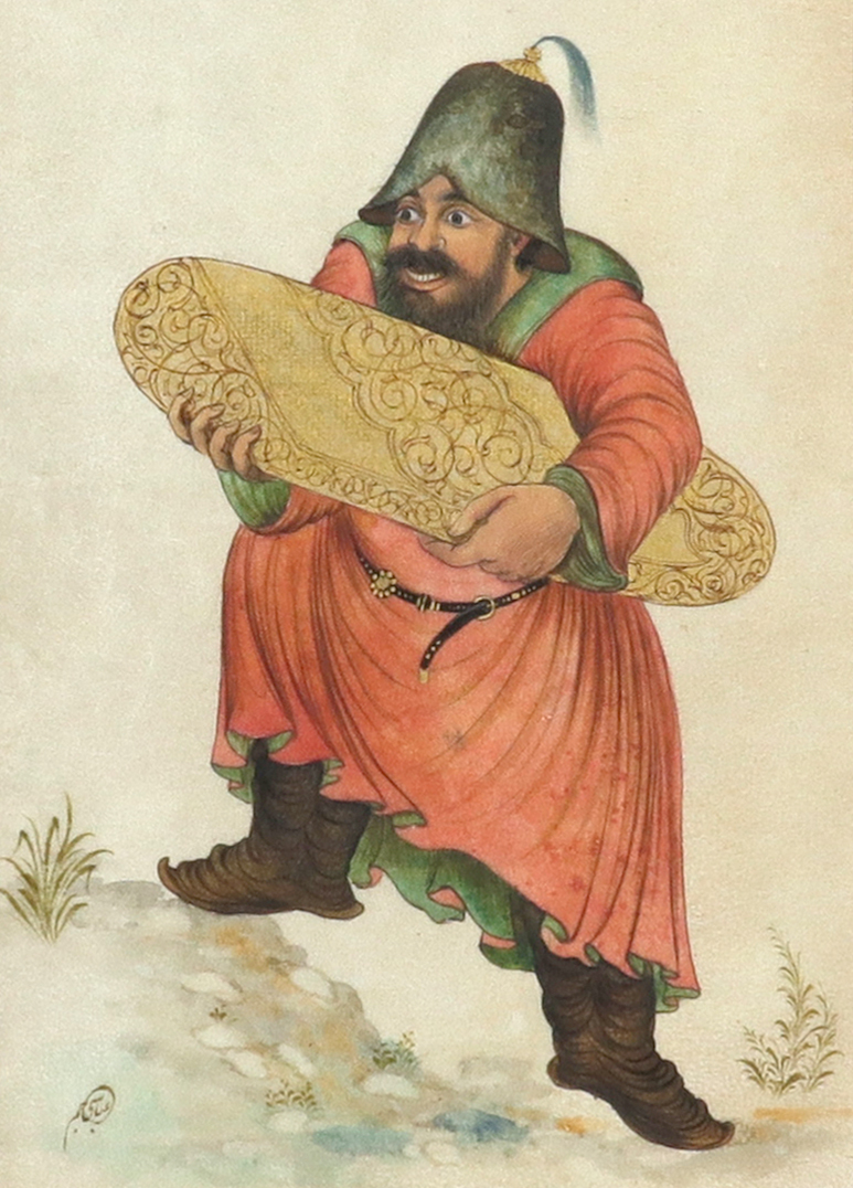 Yakup Abbasi (Iranian b.1948) A man carrying a carpet; A man with a staff A pair, both signed in