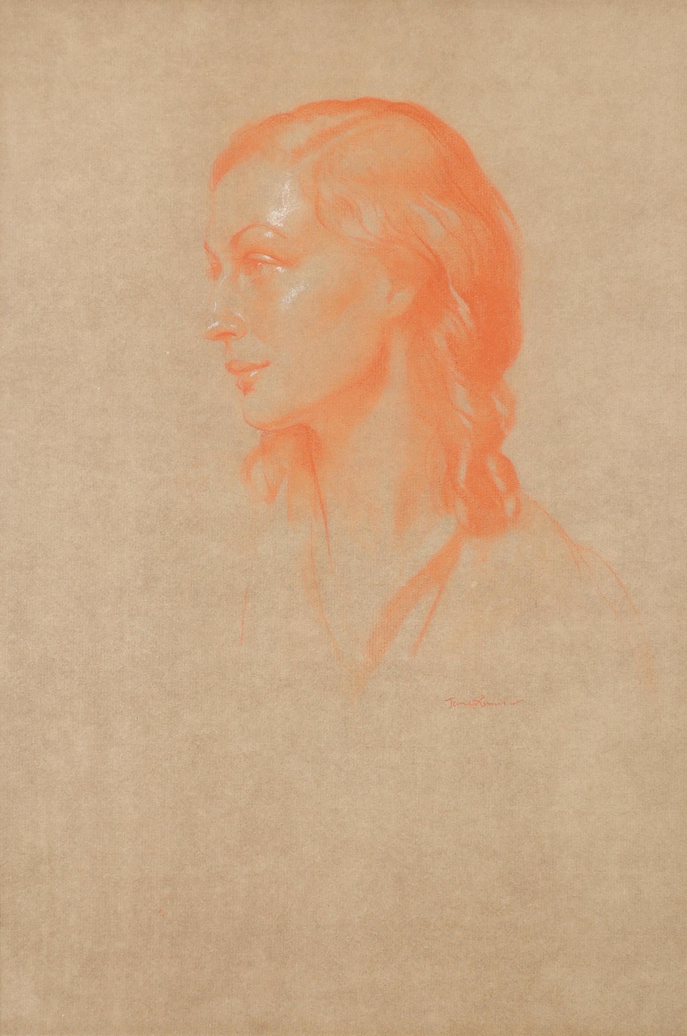 ‡Herbert James Gunn (1893-1964) Portrait of a woman Signed James Gunn (lower right) Red chalk