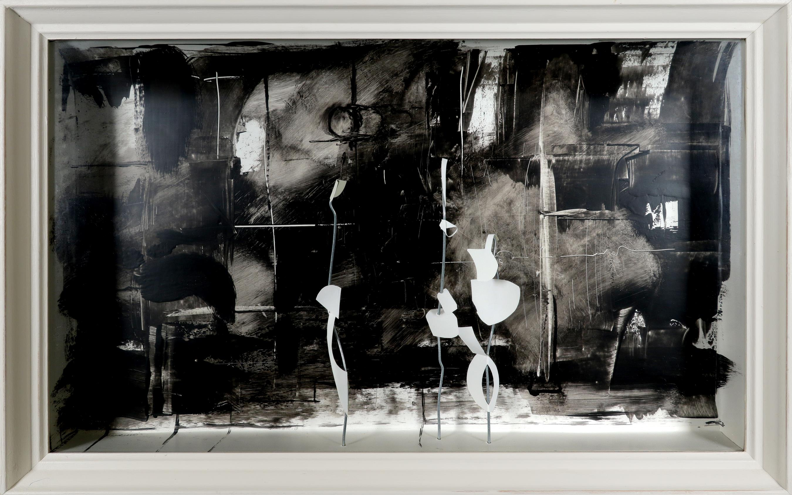 ‡John Scarland (Contemporary) On the bus Signed Scarland (to base) White card and steel against a - Image 2 of 3