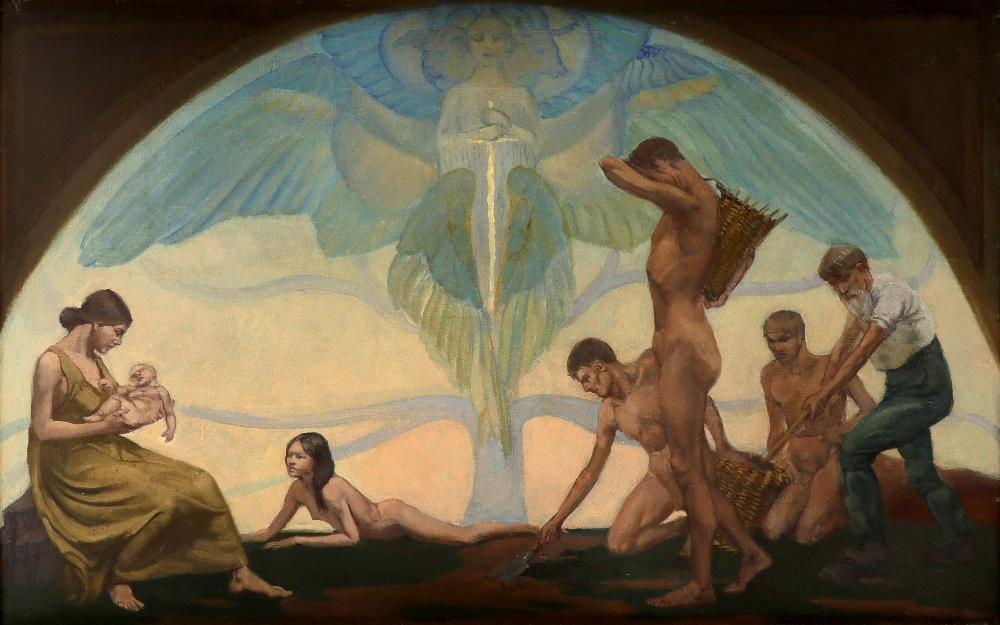 ‡Margaret Maitland Howard (1898 -1983) Allegory of life Signed MAITLAND HOWARD (lower right) Oil