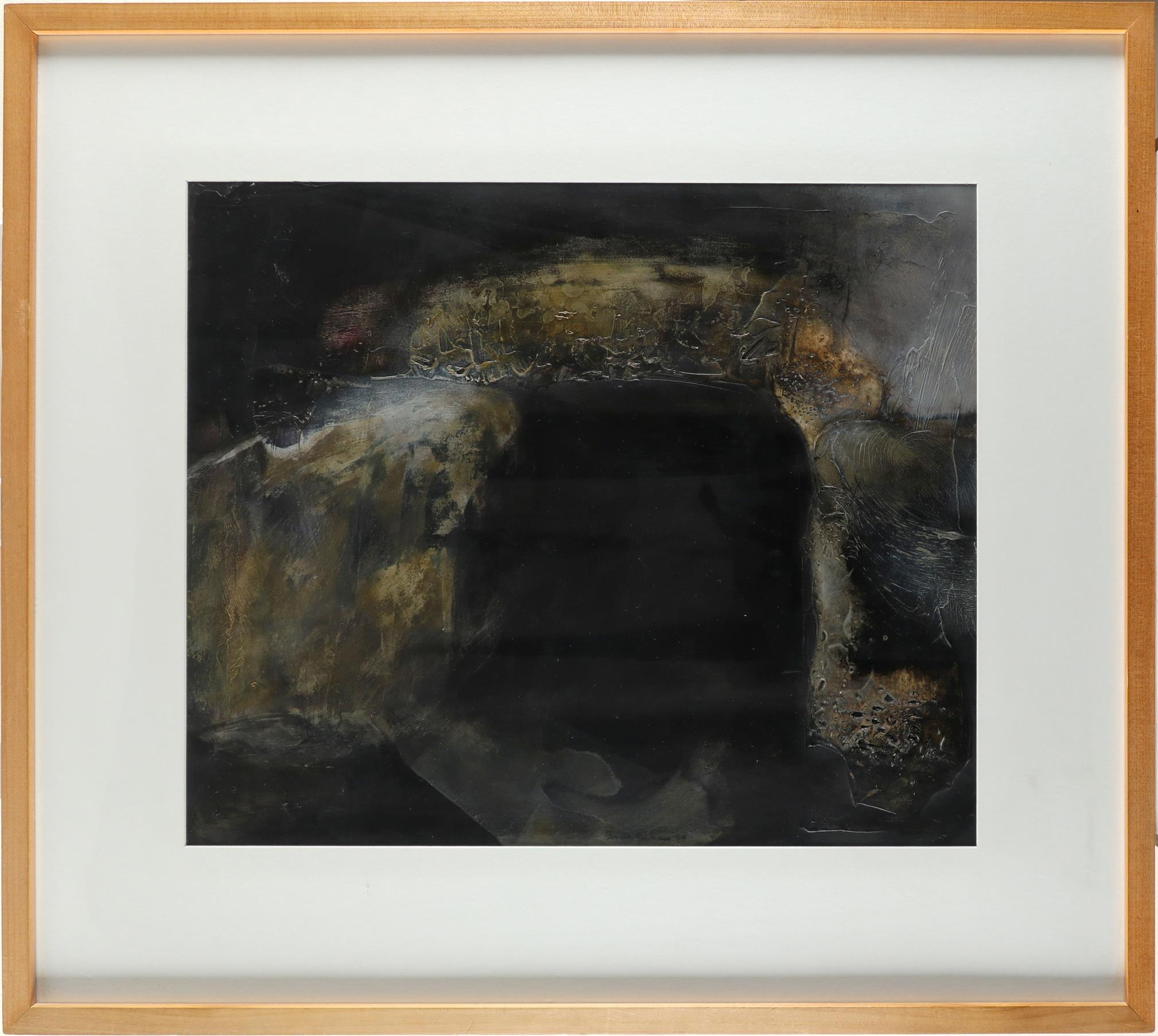 ‡Brian Graham (b.1945) A dolmen at night Signed and dated Brian Graham 94 (lower centre) Acrylic - Image 2 of 3