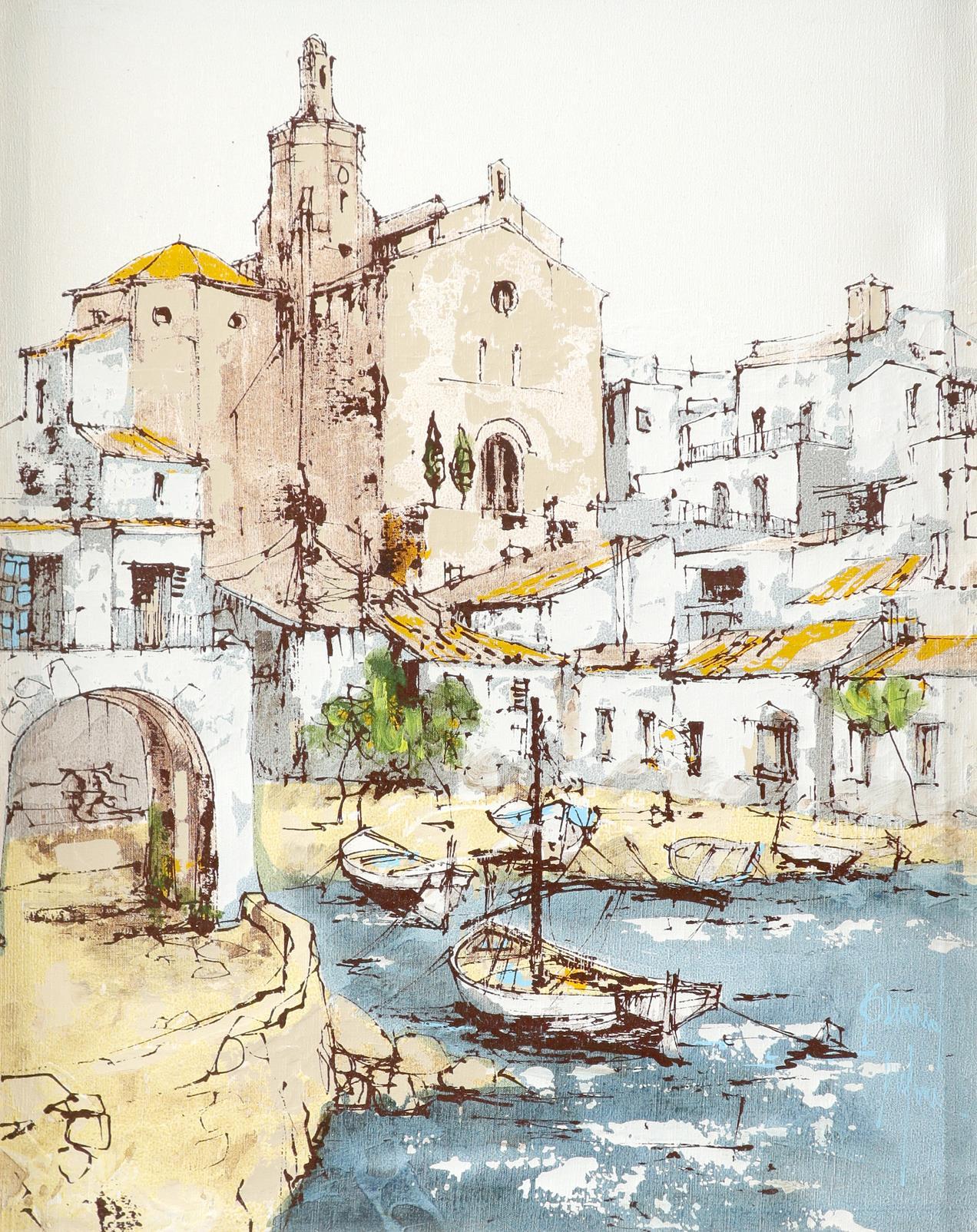 ‡Bernard Dufour (French 1922-2016) Young women boating; Young women in an alleyway Saint Tropez; A - Image 3 of 12