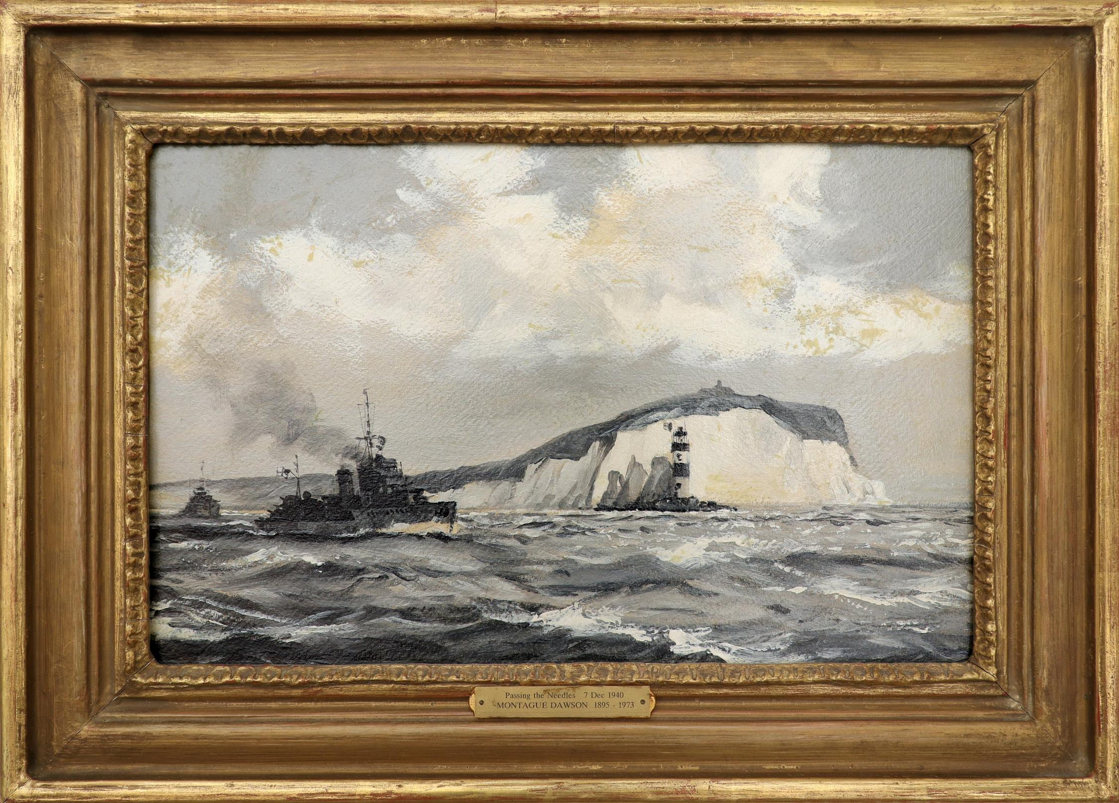 ‡Montague Dawson RMSA, FRSA (1890-1973) A British Destroyer passing the Needles, Isle of Wight Oil - Image 2 of 3