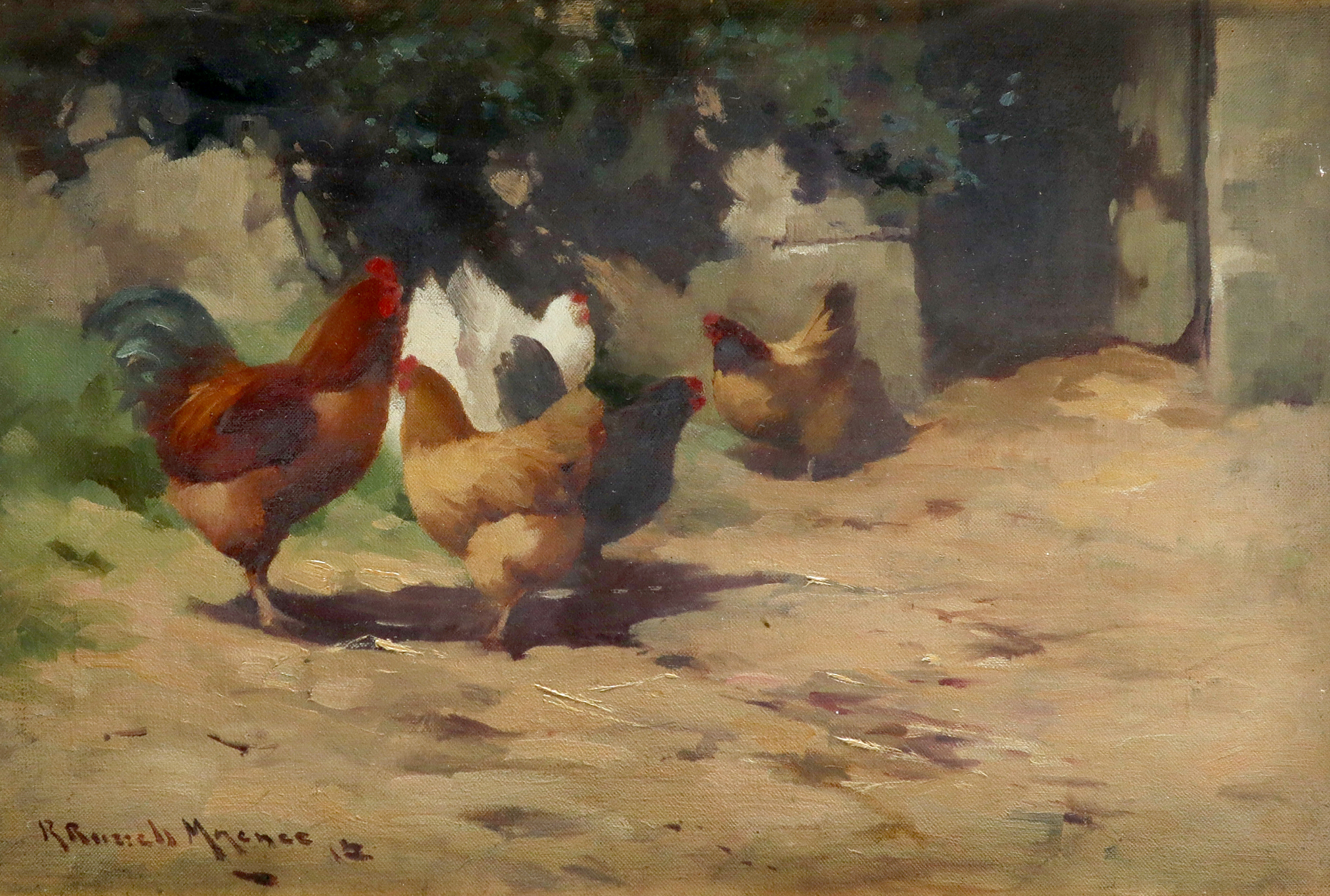 ‡Robert Russell Macnee (Scottish 1880-1952) The poultry yard Signed and dated R Russell Macnee 12 (