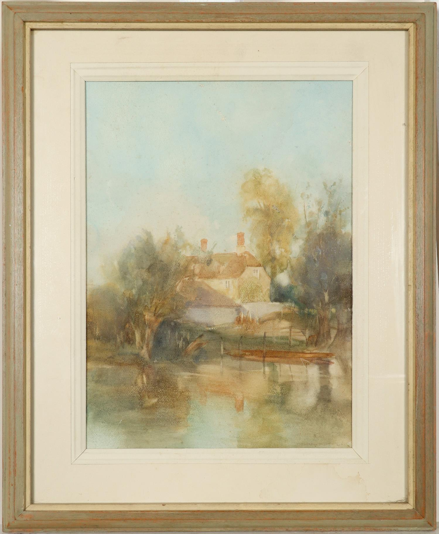 ‡Sir William Russell Flint RA, ROI (Scottish 1880-1869) View of a house by the river Signed and - Image 2 of 3