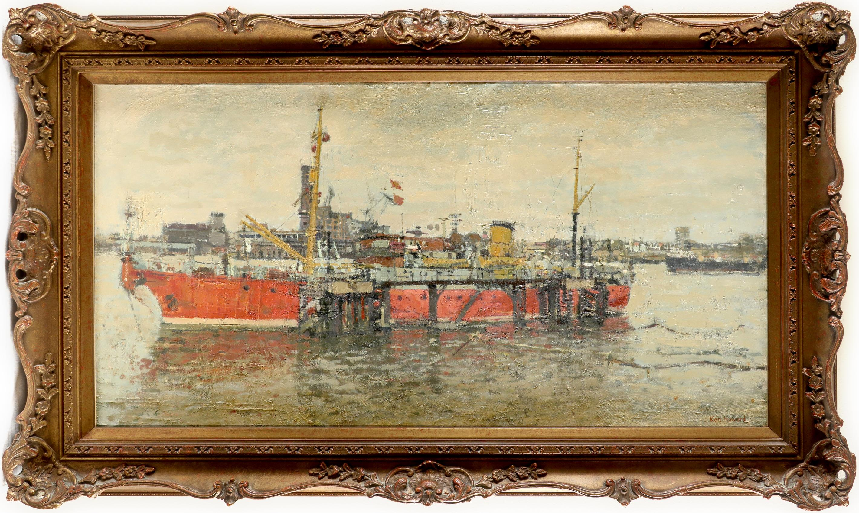 ‡Ken Howard OBE, RA (b.1932) The cable ship Iris moored at Greenwich Signed Ken Howard (lower right) - Image 2 of 3