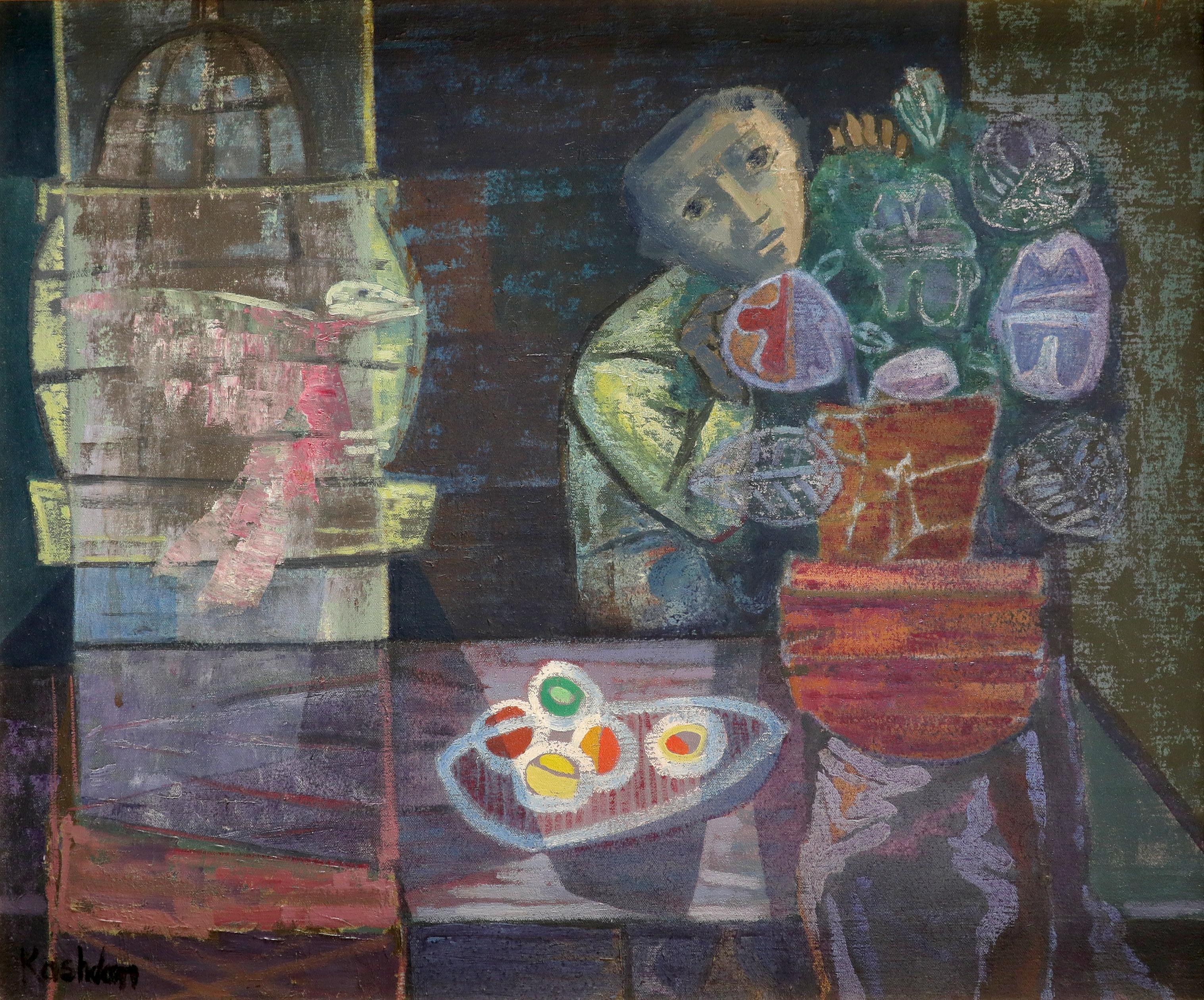 ‡John Kashdan (1917-2001) Boy with Bird Signed Kashdan (lower left) Oil on canvas, c.1949 51.3 x