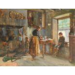 John Rennie McKenzie Houston RSW (Scottish 1856-1932) A mother and two children in a kitchen; A