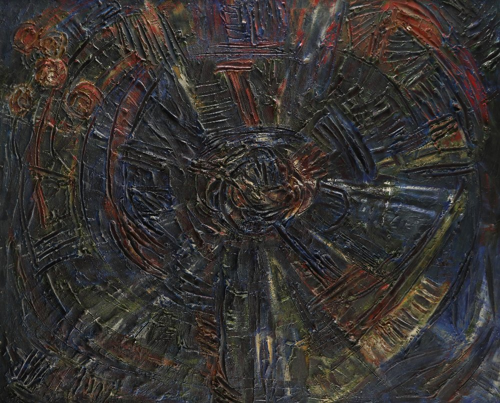 ‡Nina Hosali (1898-1987) Spiral State; Children of War Two, the former signed and dated Hosali/
