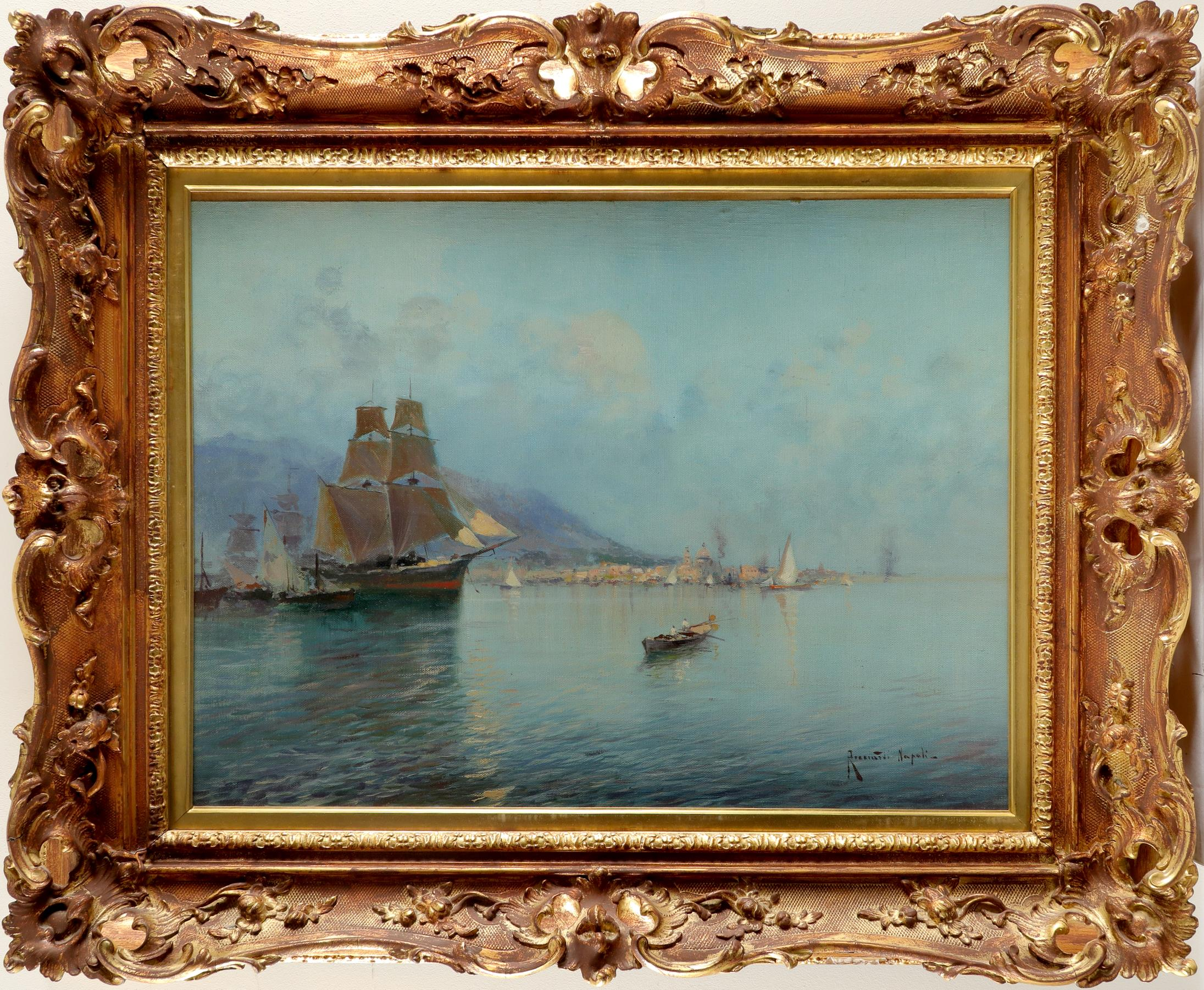 Oscar Ricciardi (Italian 1864-1935) View of the bay of Naples Signed and inscribed Ricciardi - Image 2 of 3