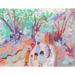 ‡Fred Yates (1922-2008) Path into the woods, Rancon Signed FRED YATES (lower right) Oil on canvas 27
