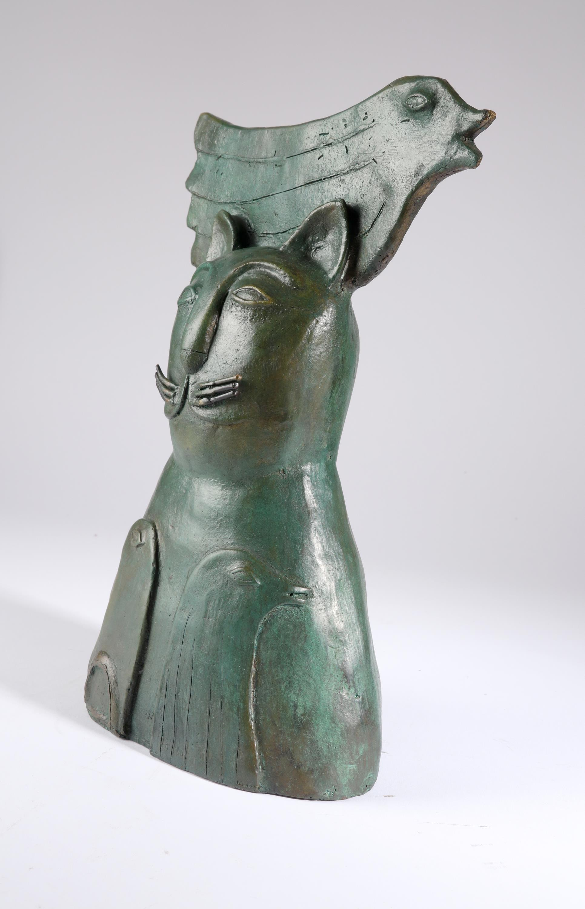 Jesus Tellosa (Mexican 20th Century) Bronze cat and three doves Bronze with green patination 35cm - Image 4 of 5